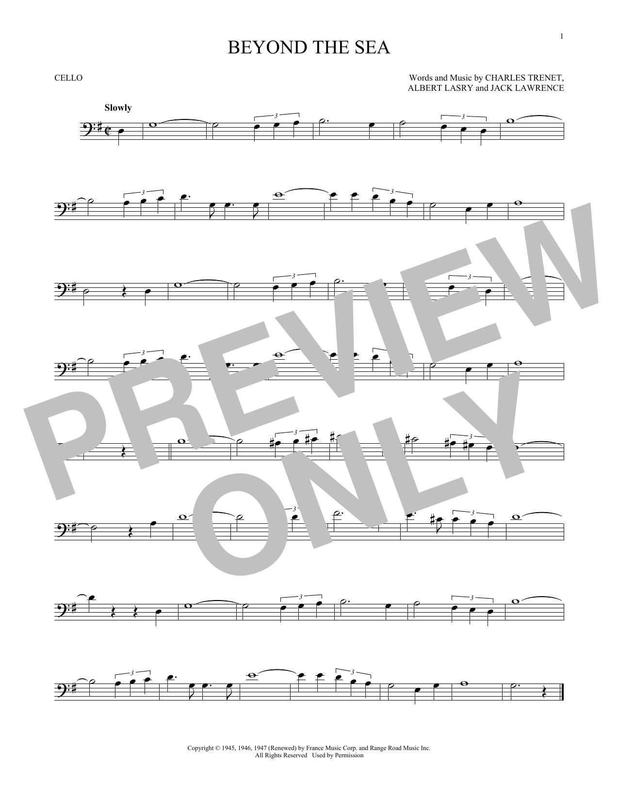 Partition autre Beyond The Sea de Bobby Darin - Violoncelle