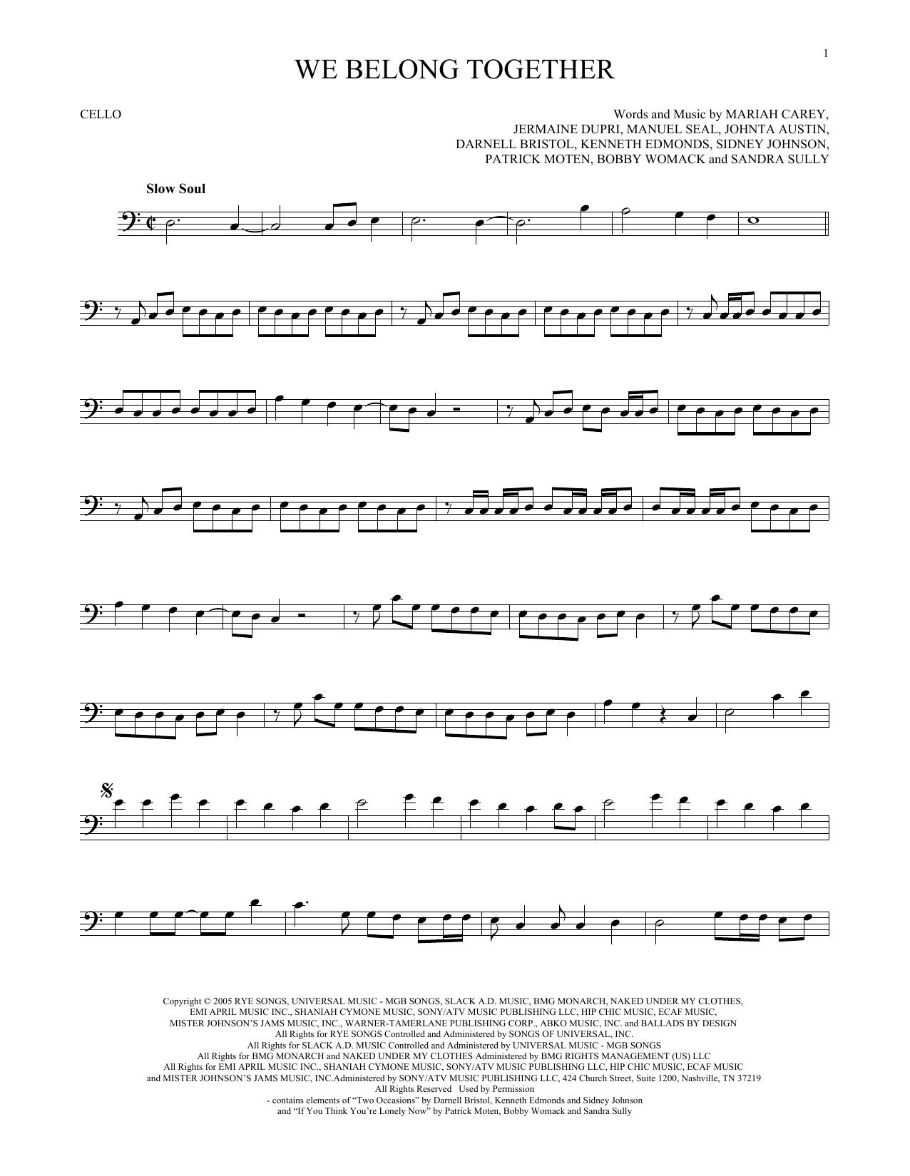 Partition autre We Belong Together de Mariah Carey - Violoncelle