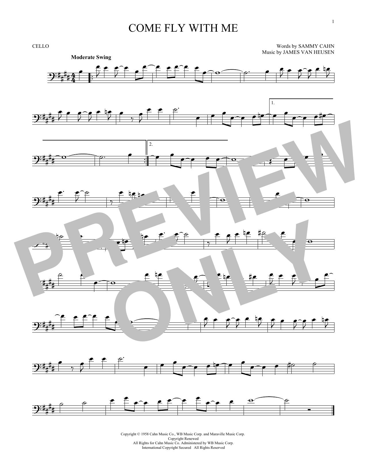 Partition autre Come Fly With Me de Frank Sinatra - Violoncelle
