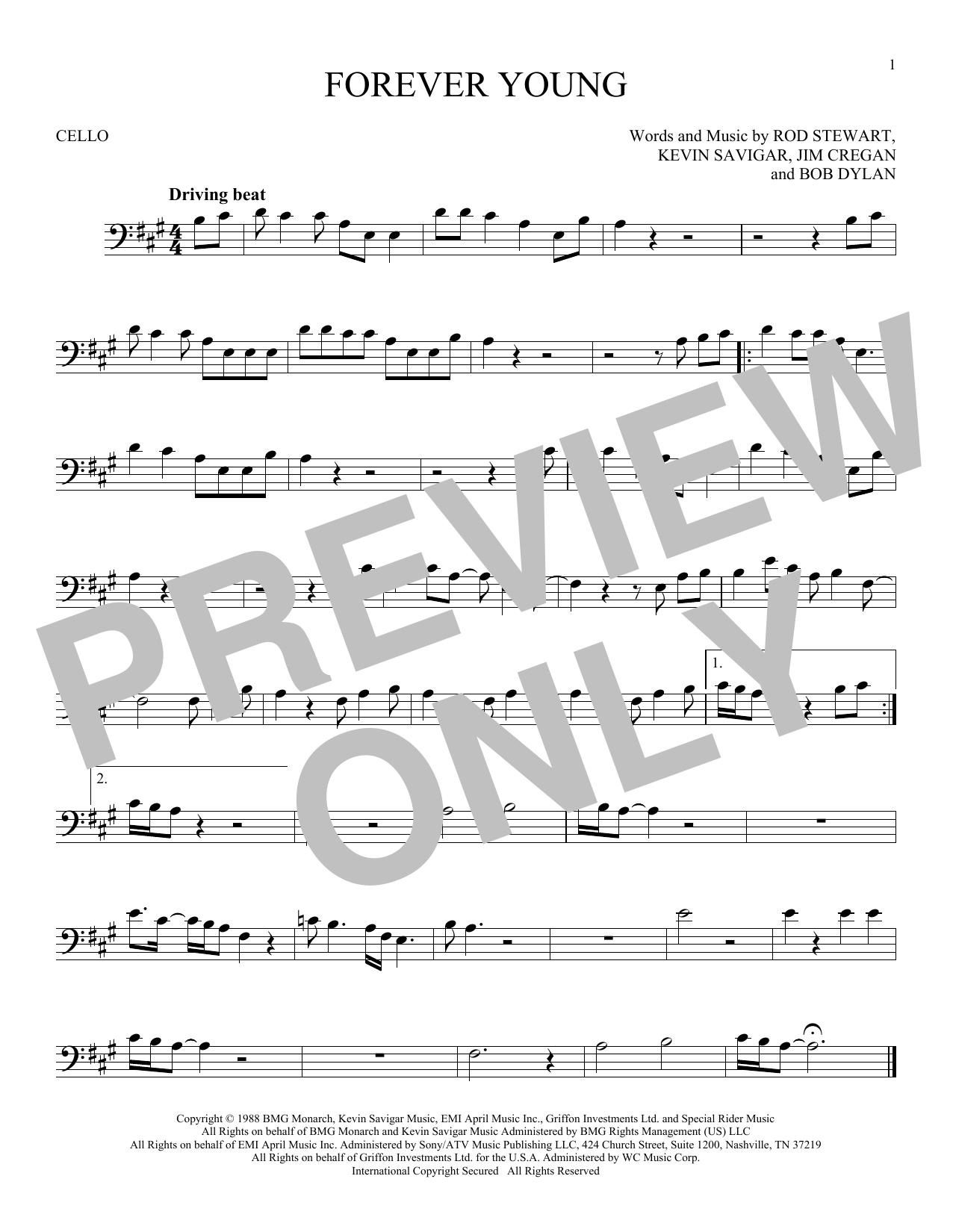 Partition autre Forever Young de Rod Stewart - Violoncelle