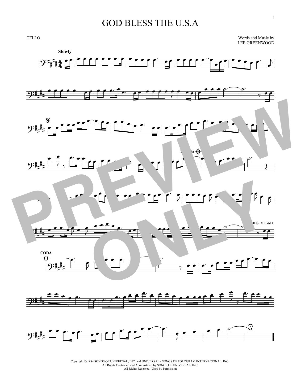 Partition autre God Bless The U.S.A. de Lee Greenwood - Violoncelle
