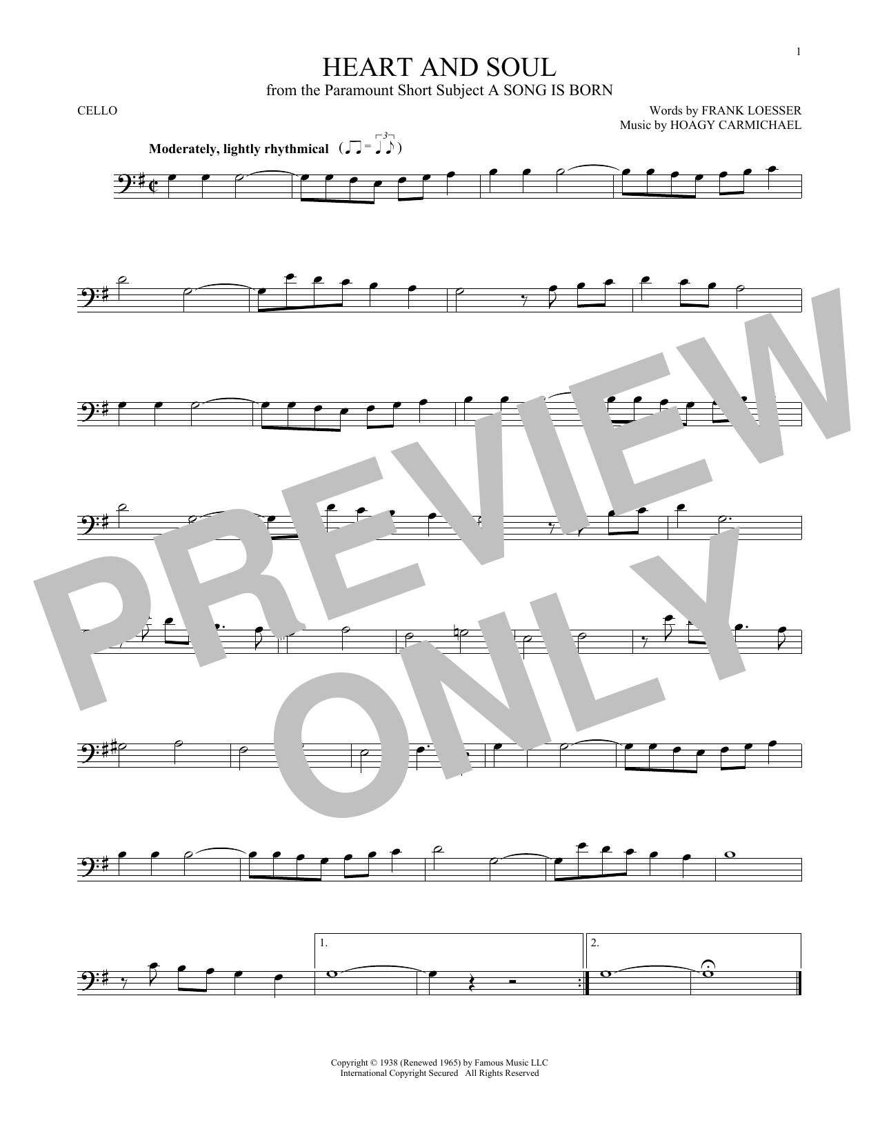 Partition autre Heart And Soul de Hoagy Carmichael - Violoncelle