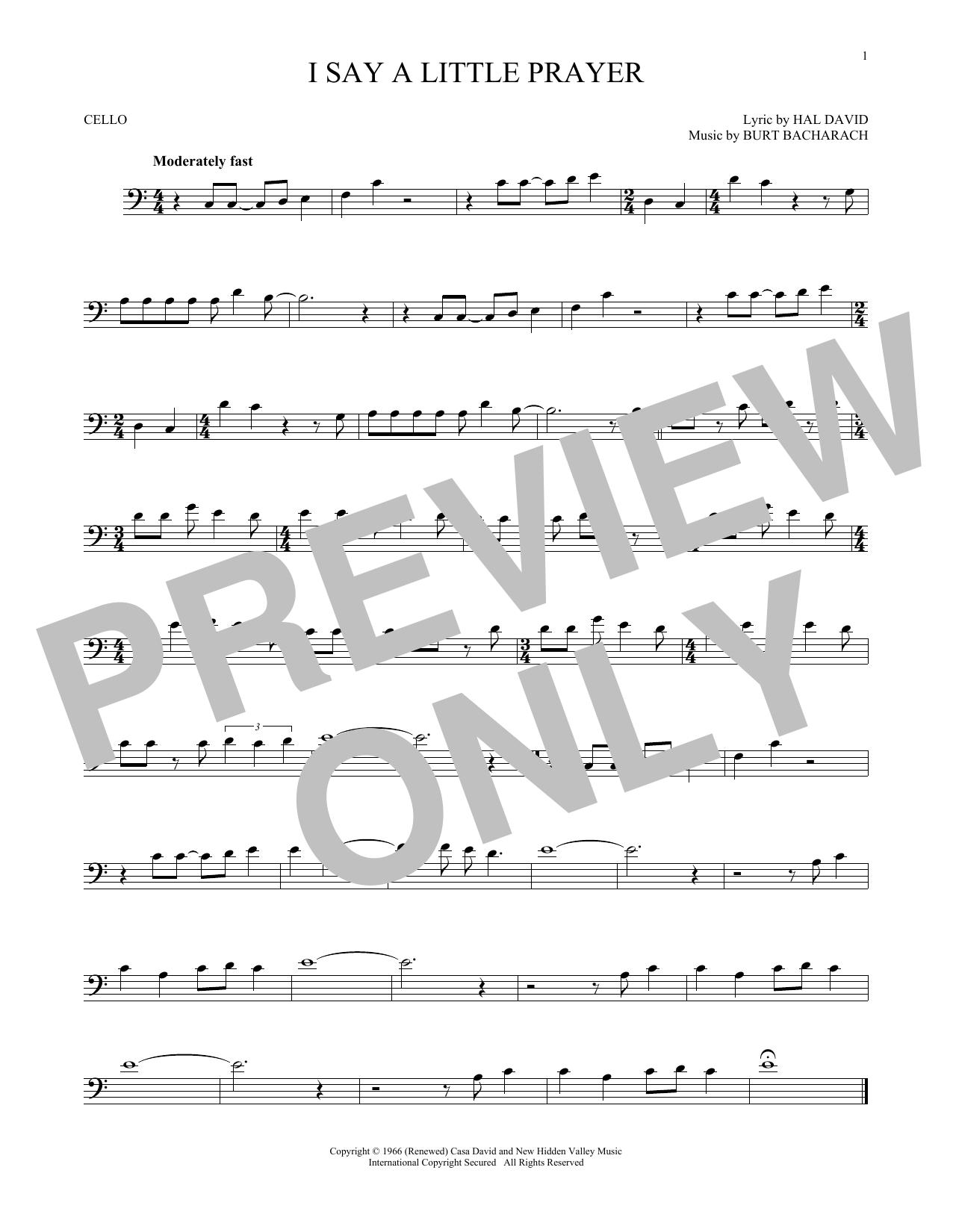 Partition autre I Say A Little Prayer de Bacharach & David - Violoncelle