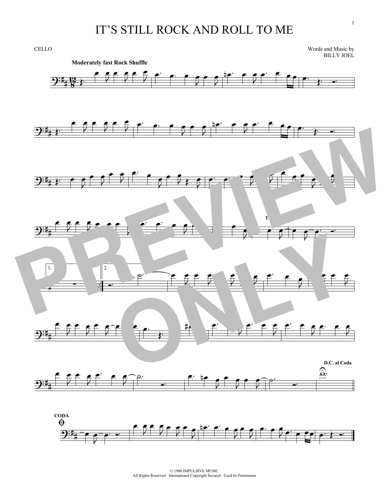 Partition autre It's Still Rock And Roll To Me de Billy Joel - Violoncelle