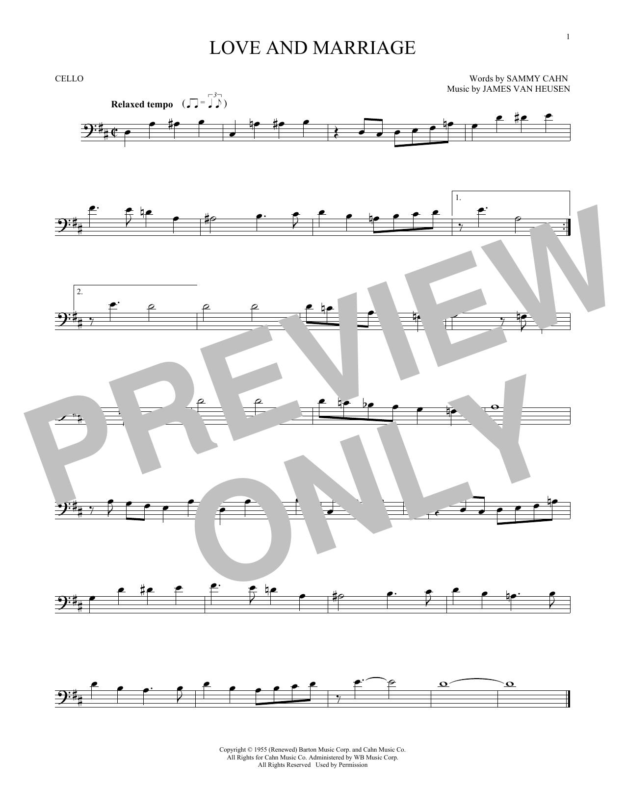Partition autre Love And Marriage de Frank Sinatra - Violoncelle
