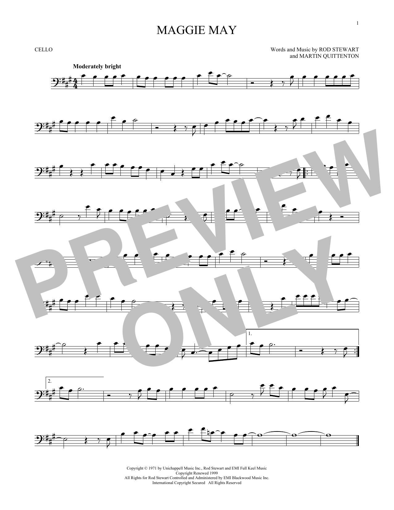 Partition autre Maggie May de Rod Stewart - Violoncelle