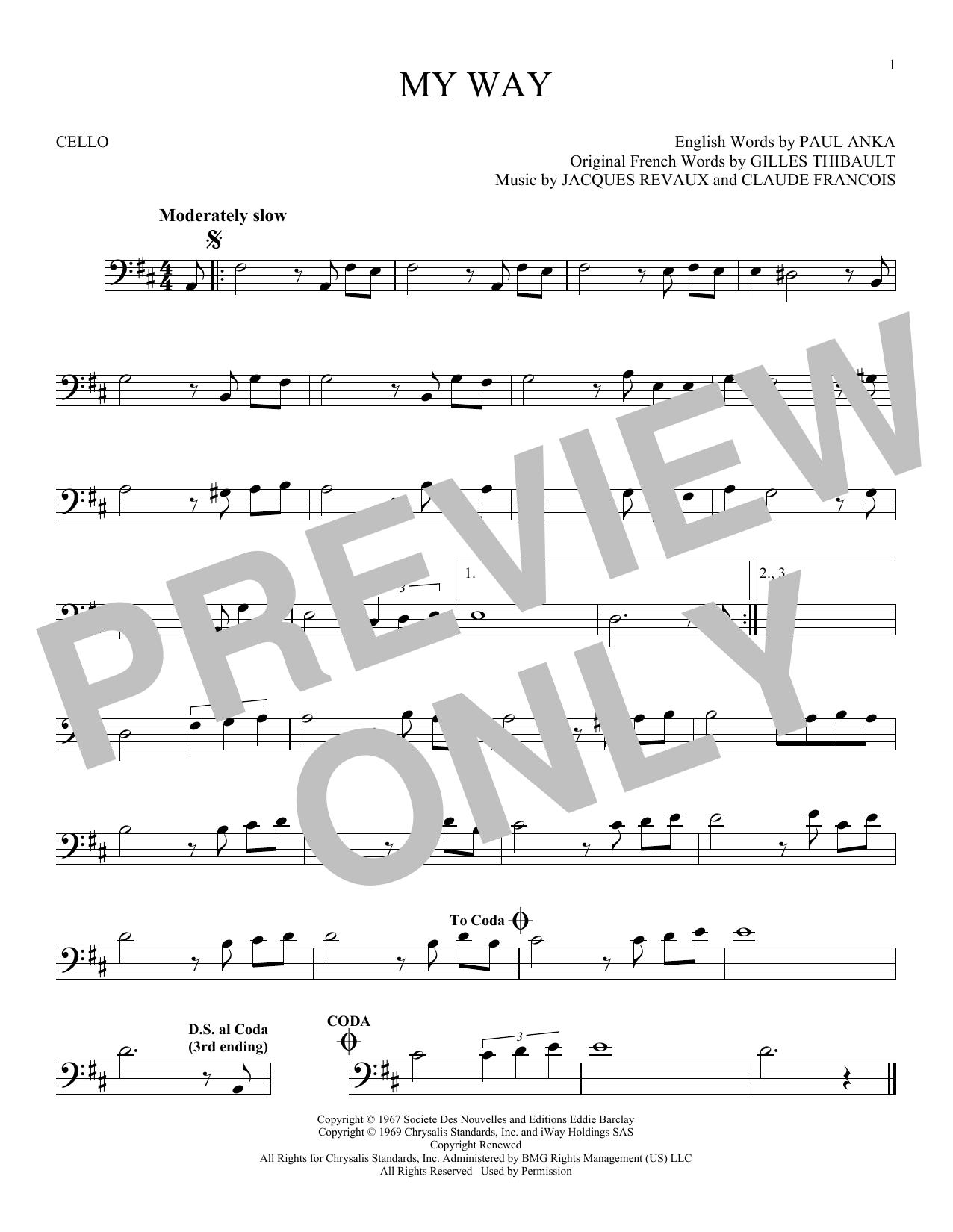 Partition autre My Way de Frank Sinatra - Violoncelle