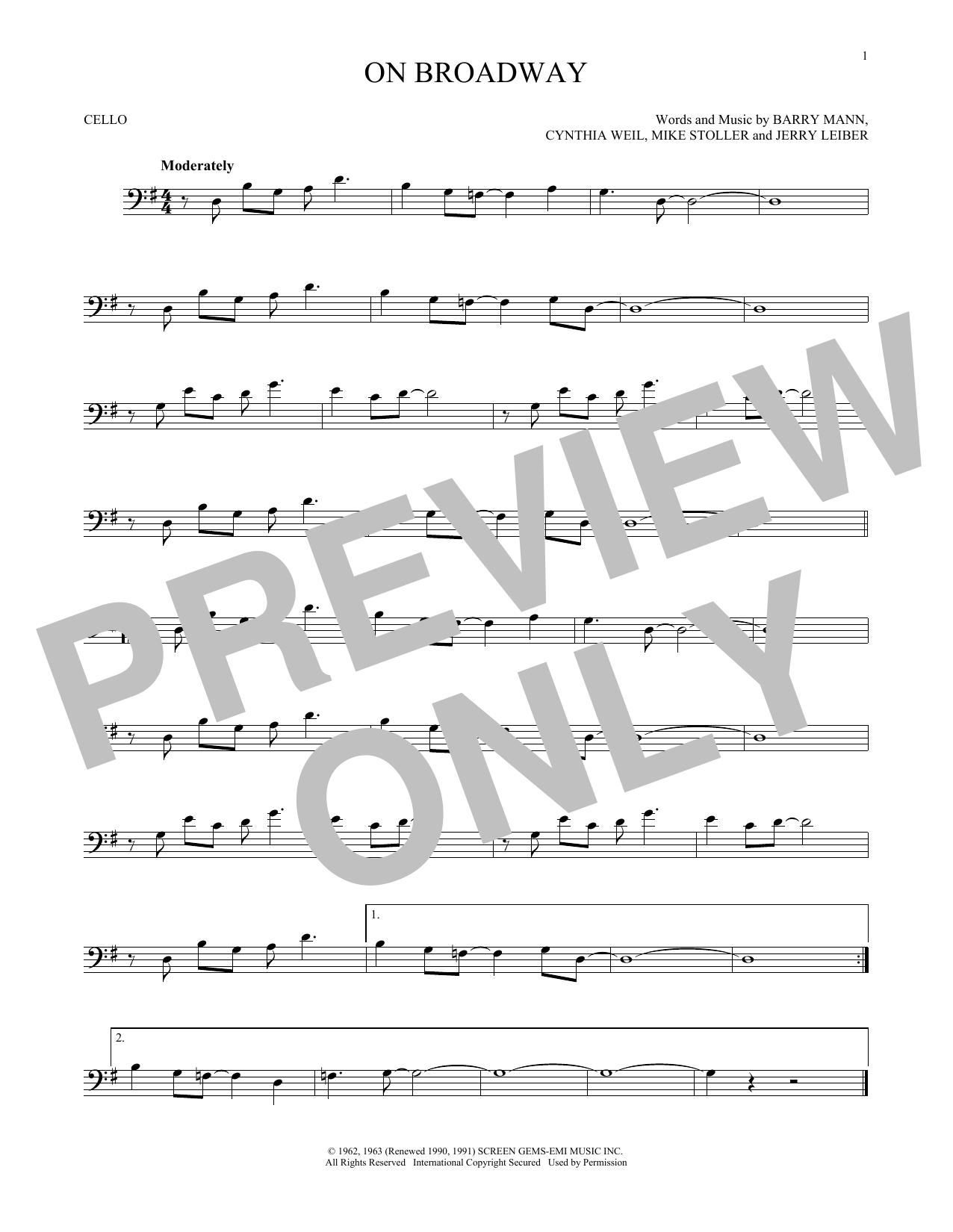 Partition autre On Broadway de George Benson - Violoncelle