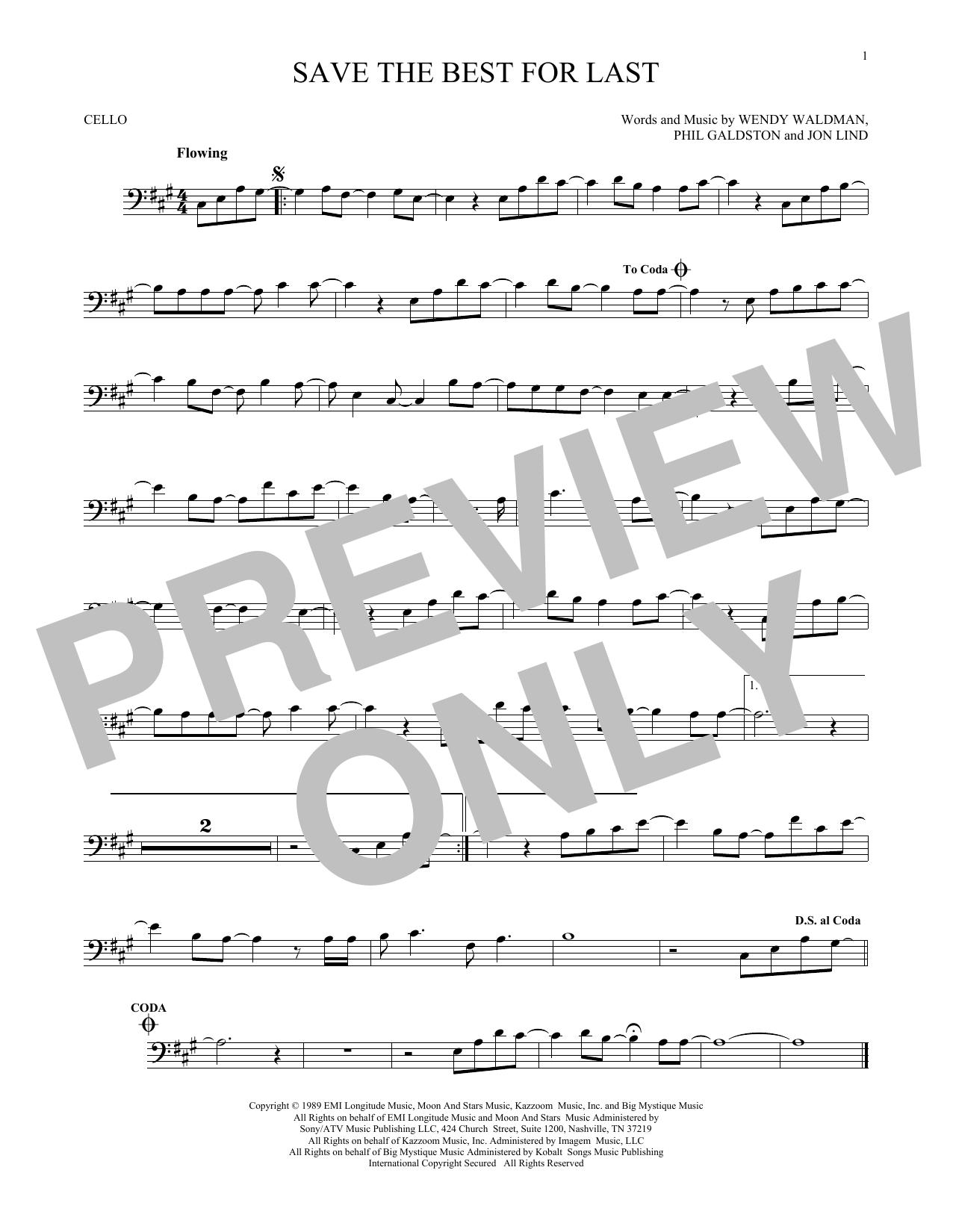 Partition autre Save The Best For Last de Vanessa Williams - Violoncelle