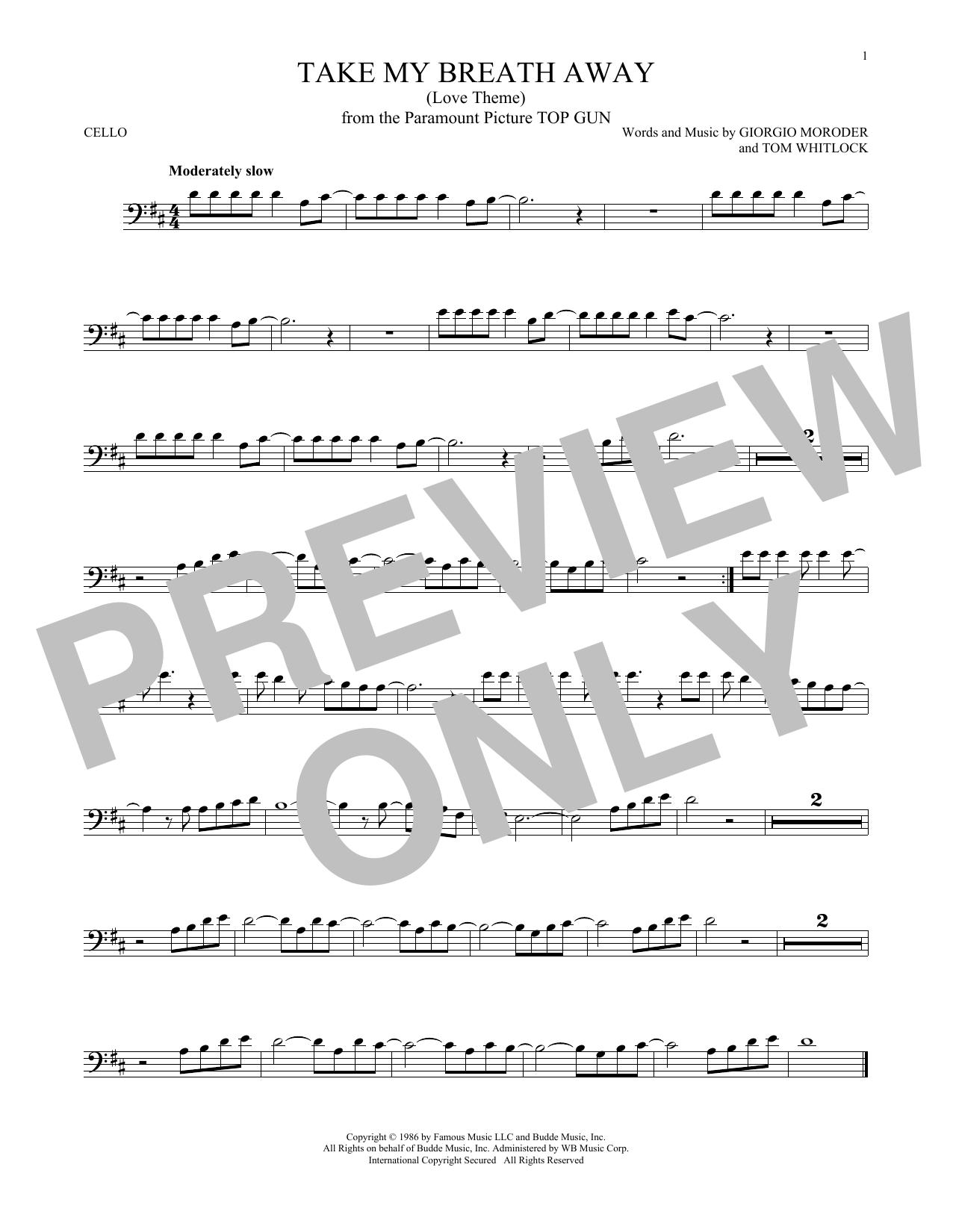 Partition autre Take My Breath Away (Love Theme) de Giorgio Moroder - Violoncelle