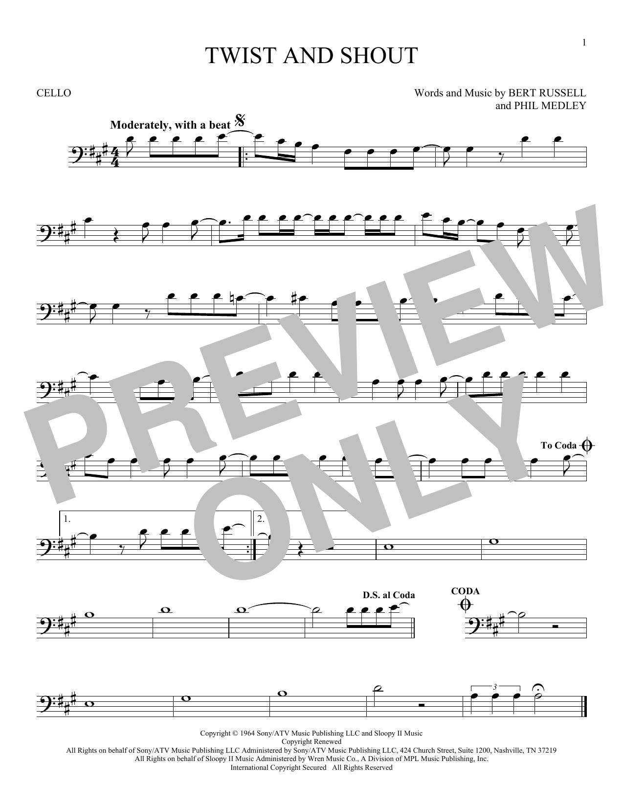 Partition autre Twist And Shout de The Beatles - Violoncelle