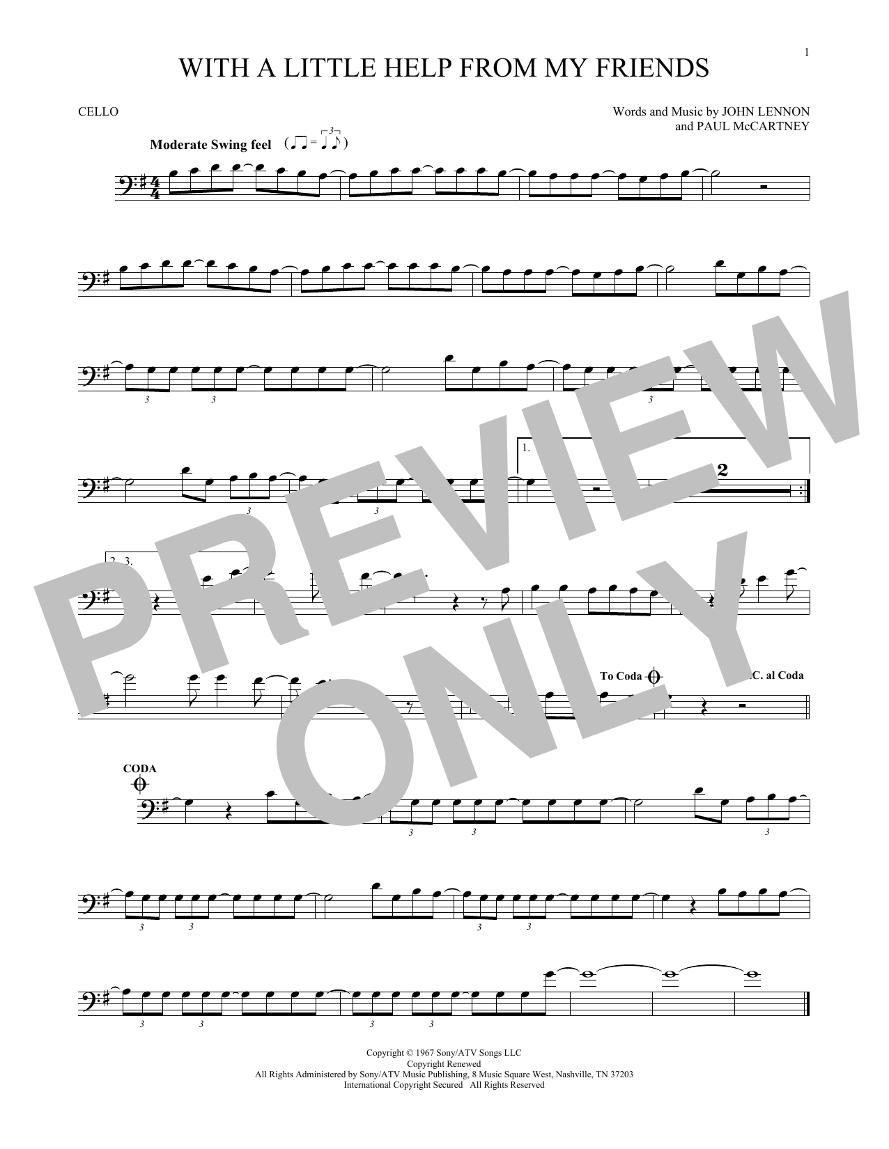 Partition autre With A Little Help From My Friends de The Beatles - Violoncelle