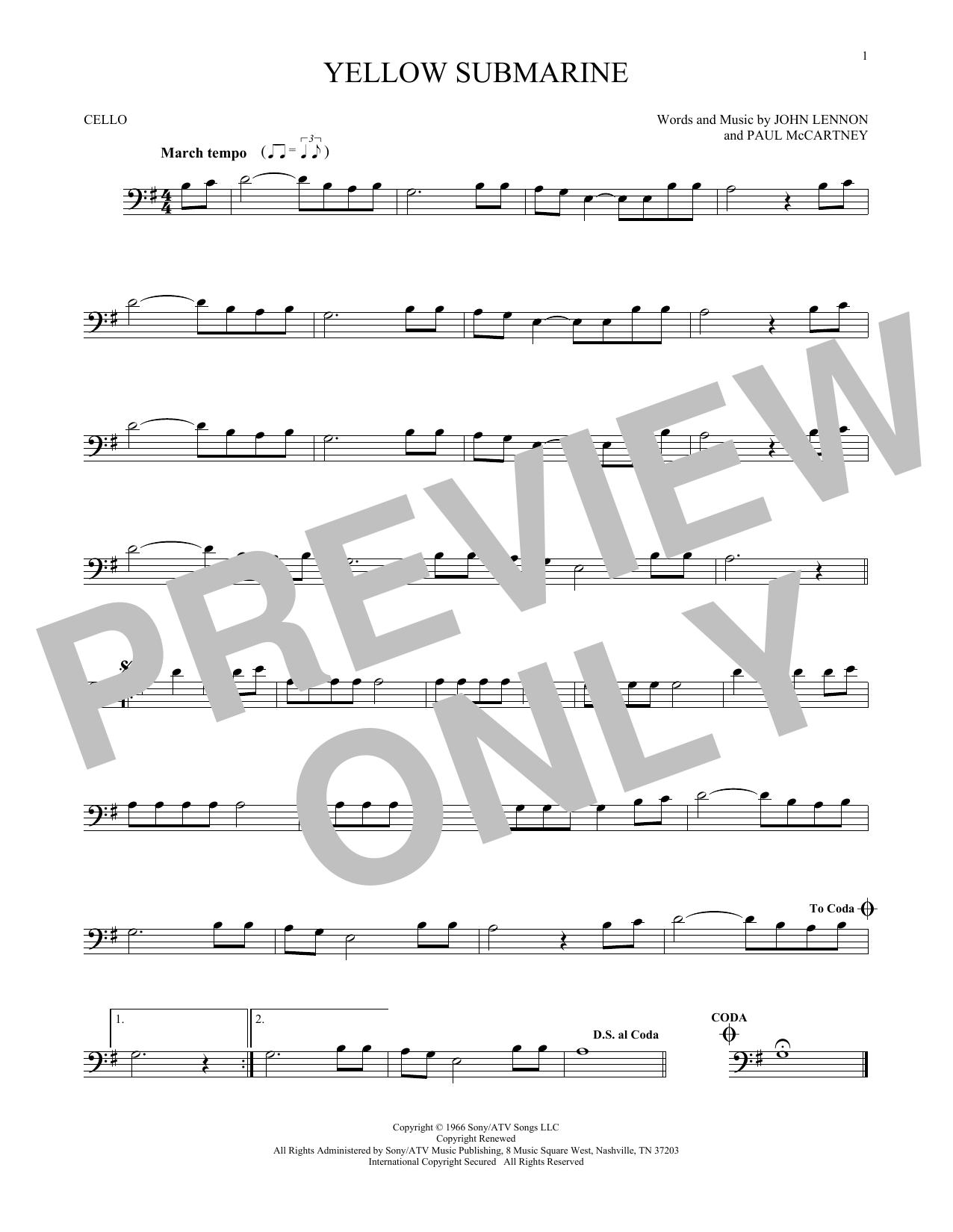 Partition autre Yellow Submarine de The Beatles - Violoncelle