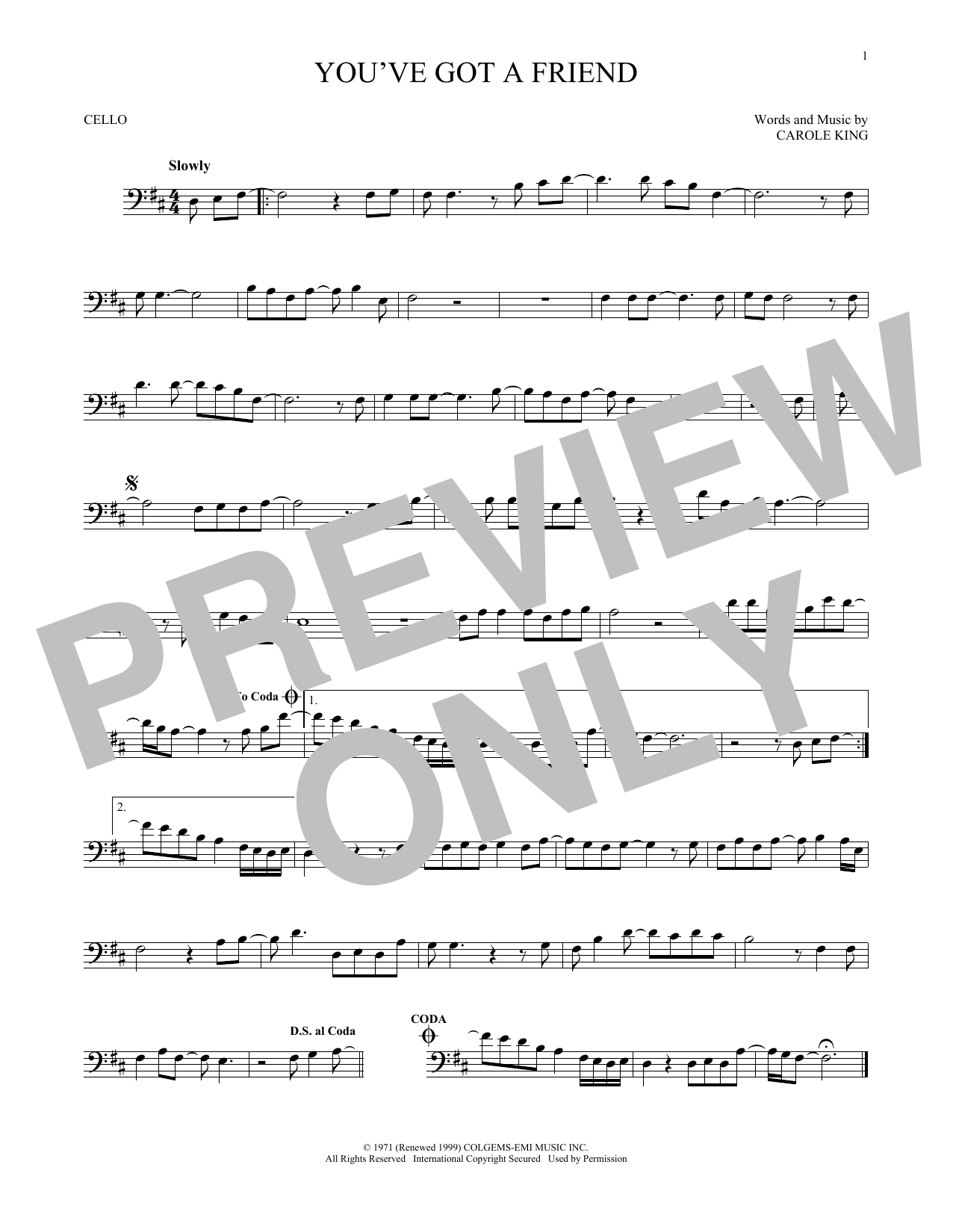 Partition autre You've Got A Friend de James Taylor - Violoncelle