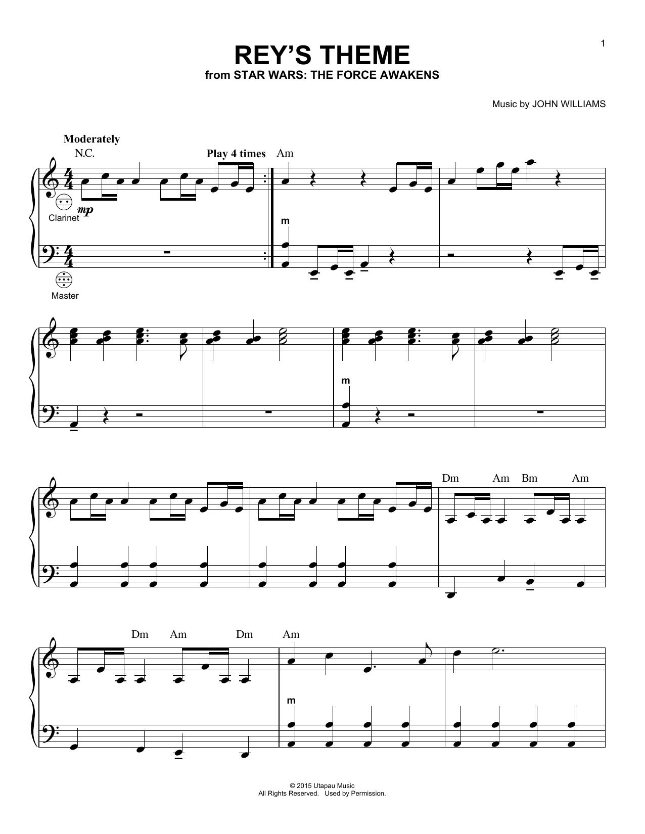 Partition autre Rey's Theme de John Williams - Accordeon