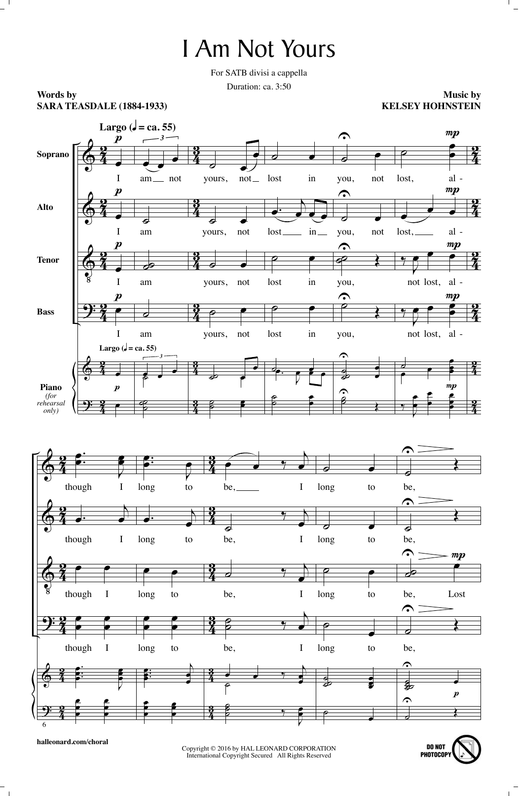 Partition chorale I Am Not Yours de Kelsey Hohnstein - SATB