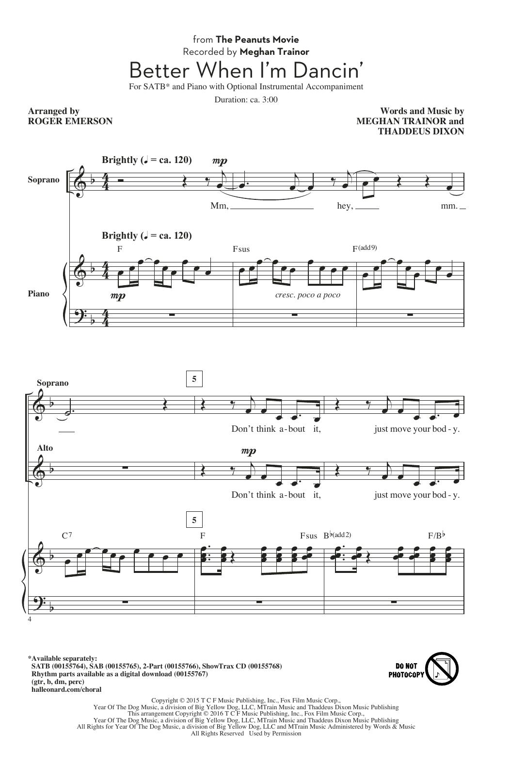 Partition chorale Better When I'm Dancin' de Meghan Trainor - SATB