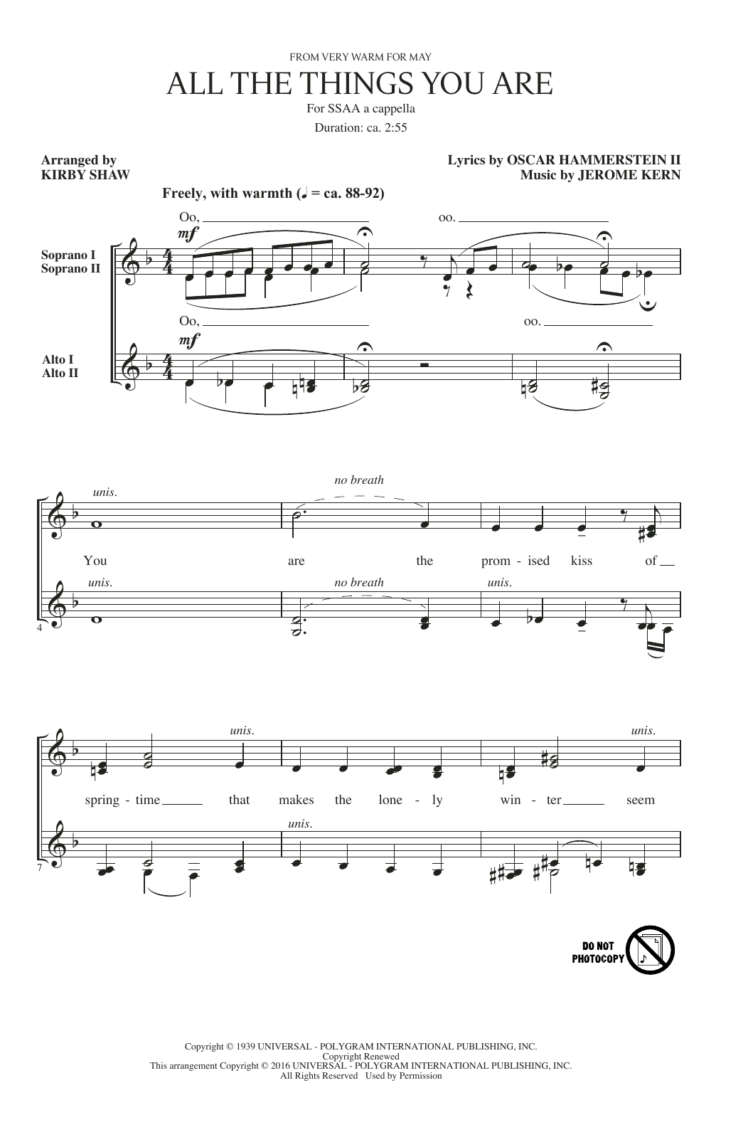 Partition chorale All The Things You Are de Jerome Kern - SSA