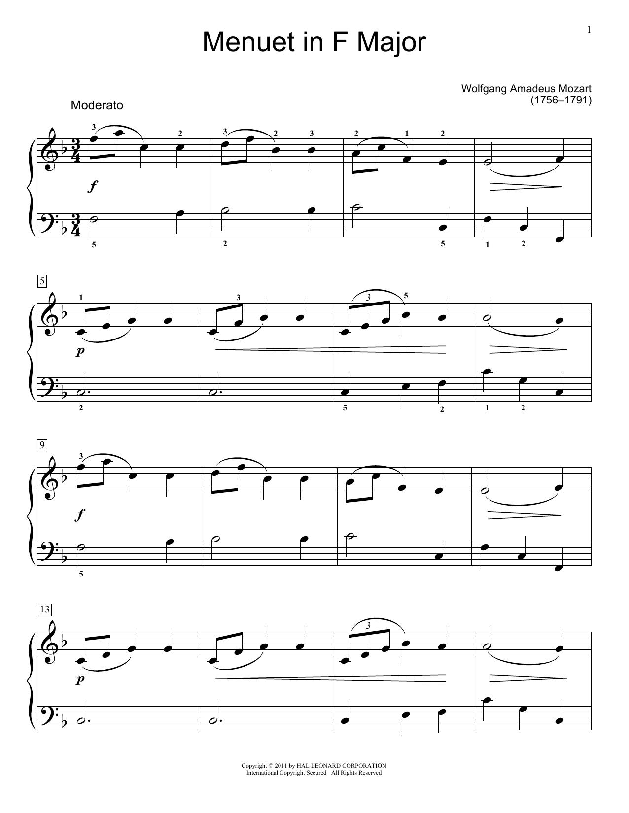 Partition piano Minuet In F Major, K. 2 de Jennifer Linn - Piano Facile