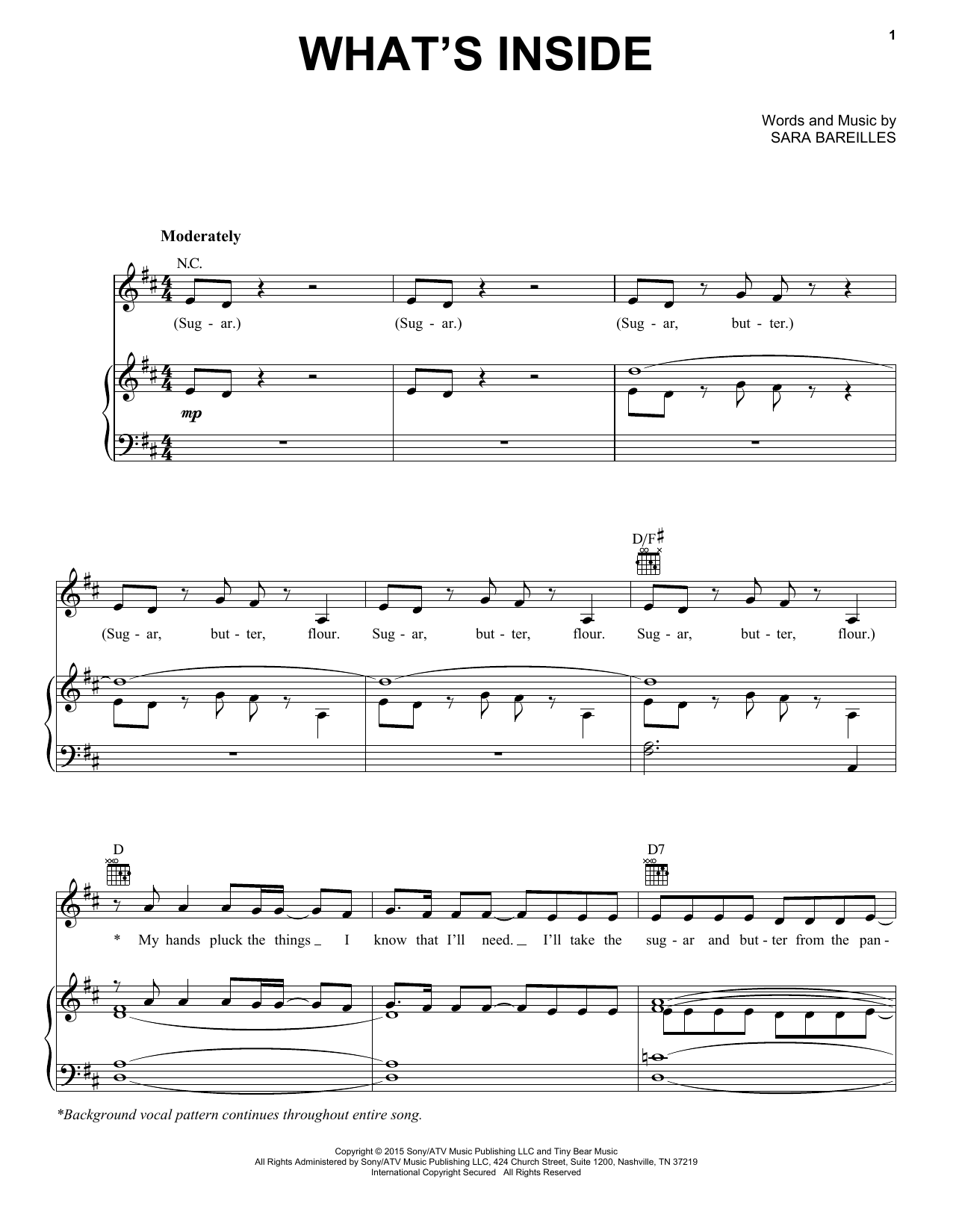 Partition piano What's Inside de Sara Bareilles - Piano Voix Guitare (Mélodie Main Droite)