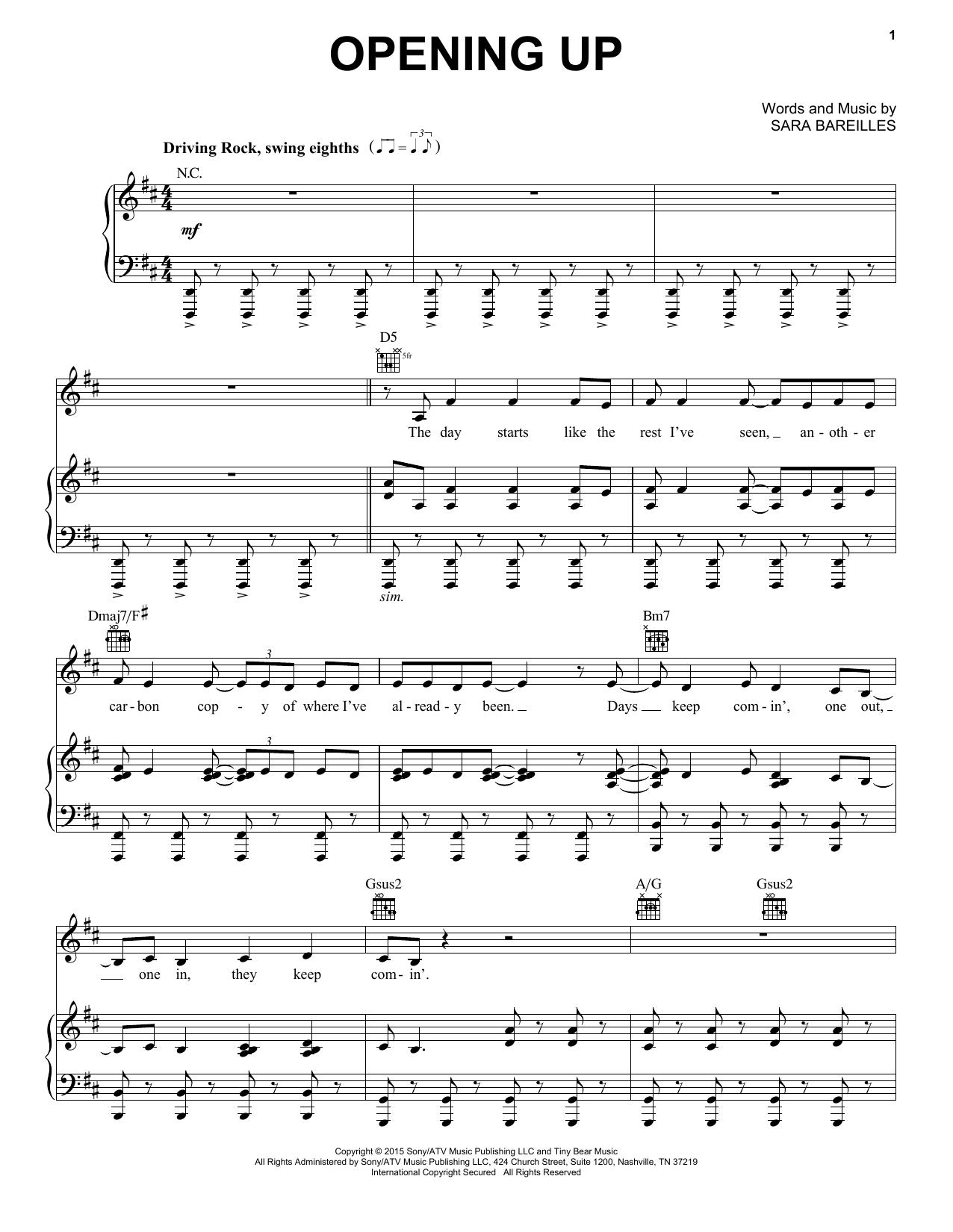 Partition piano Opening Up de Sara Bareilles - Piano Voix Guitare (Mélodie Main Droite)