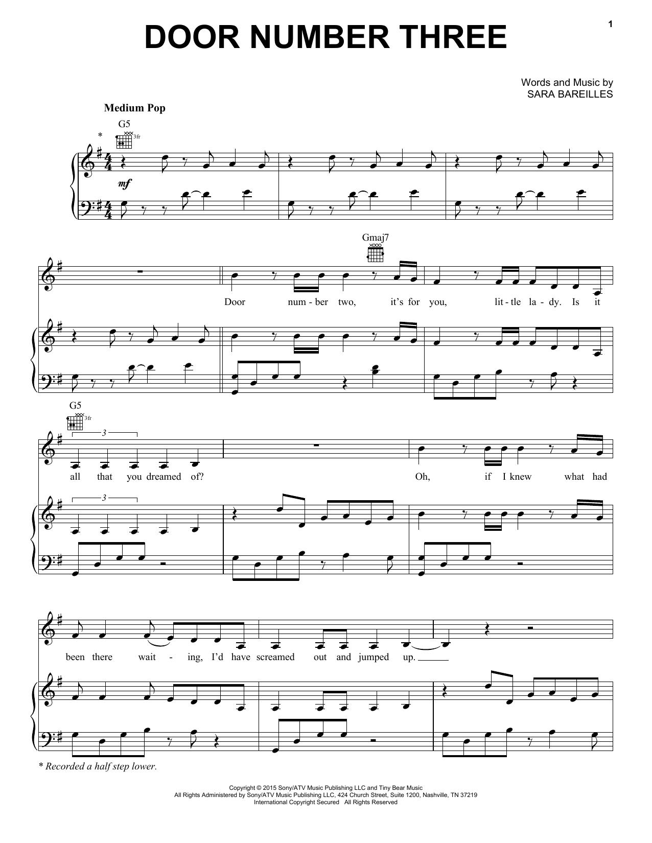 Partition piano Door Number Three de Sara Bareilles - Piano Voix Guitare (Mélodie Main Droite)
