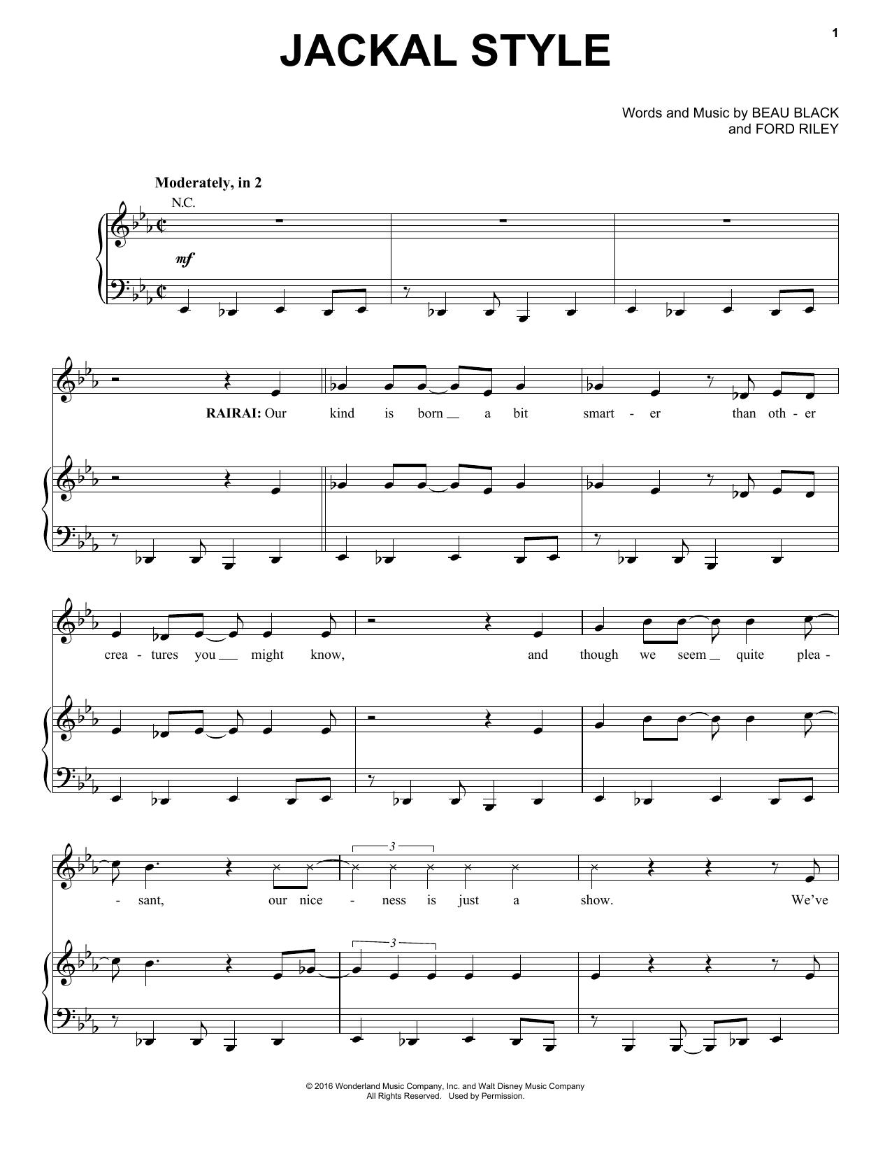 Partition piano Jackal Style de Beau Black - Piano Voix Guitare (Mélodie Main Droite)