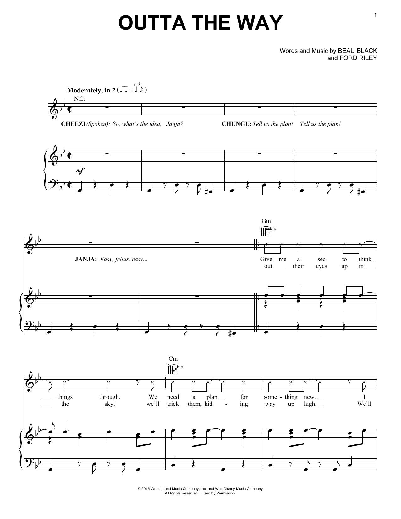 Partition piano Outta The Way de Beau Black - Piano Voix Guitare (Mélodie Main Droite)