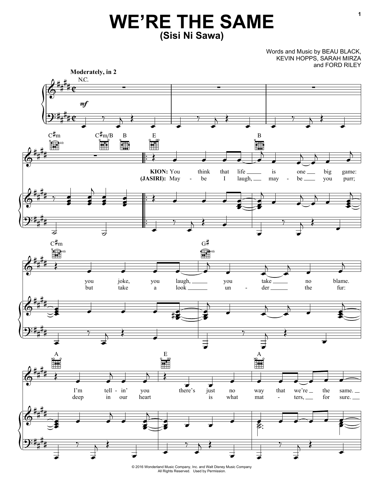 Partition piano We're The Same (Sis Ni Sawa) de Beau Black - Piano Voix Guitare (Mélodie Main Droite)