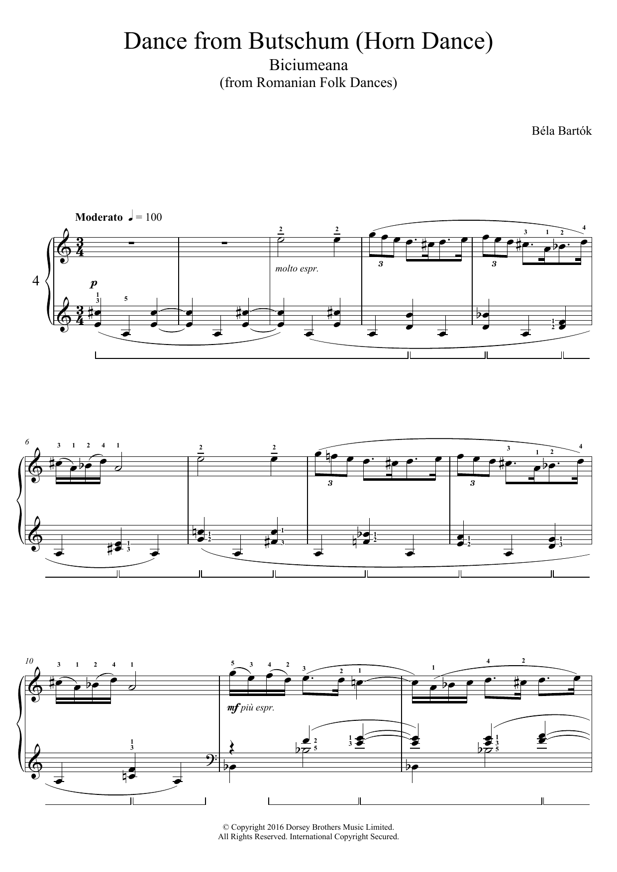 Bela Bartok - Dance From Butschum (from Romanian Folk Dances)