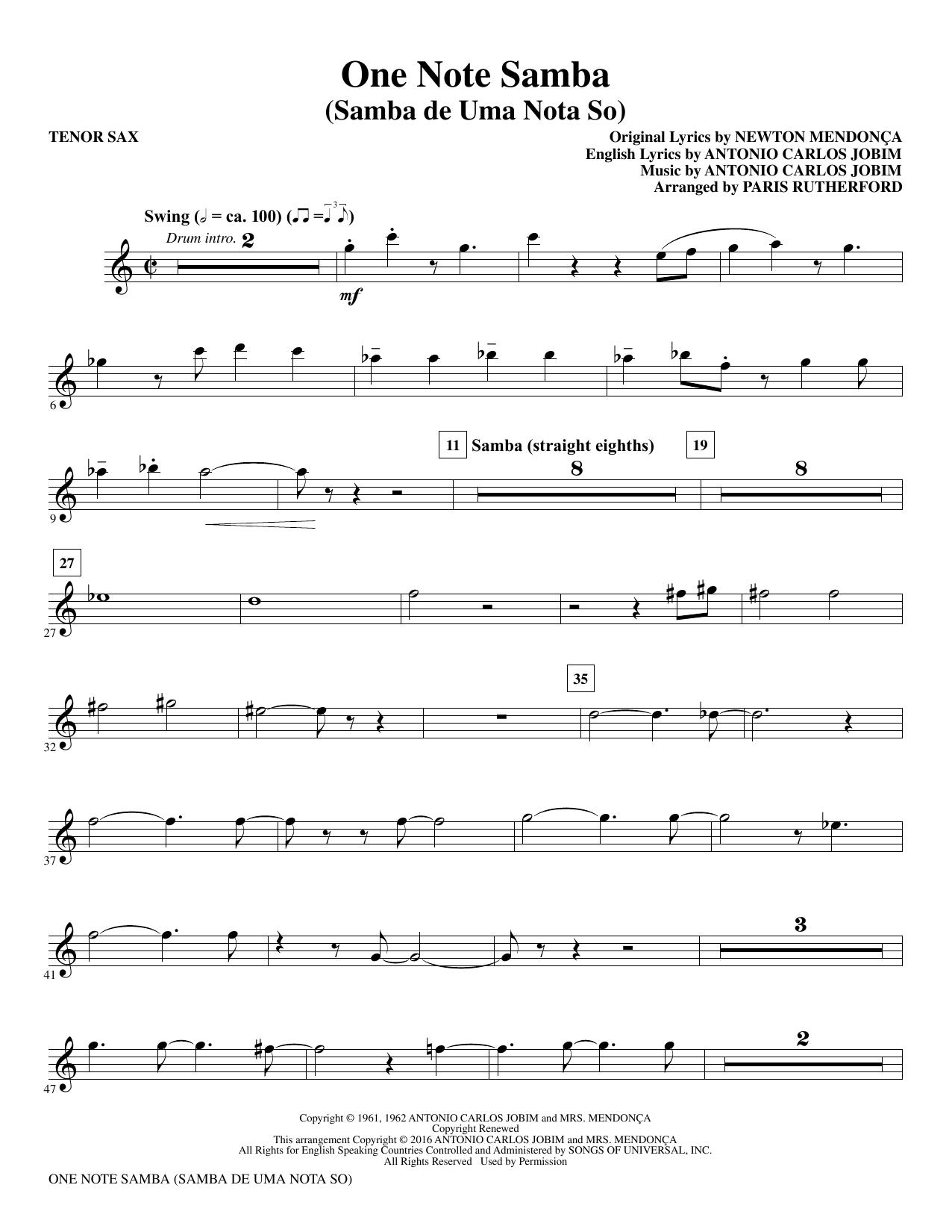 One Note Samba - Bb Tenor Saxophone