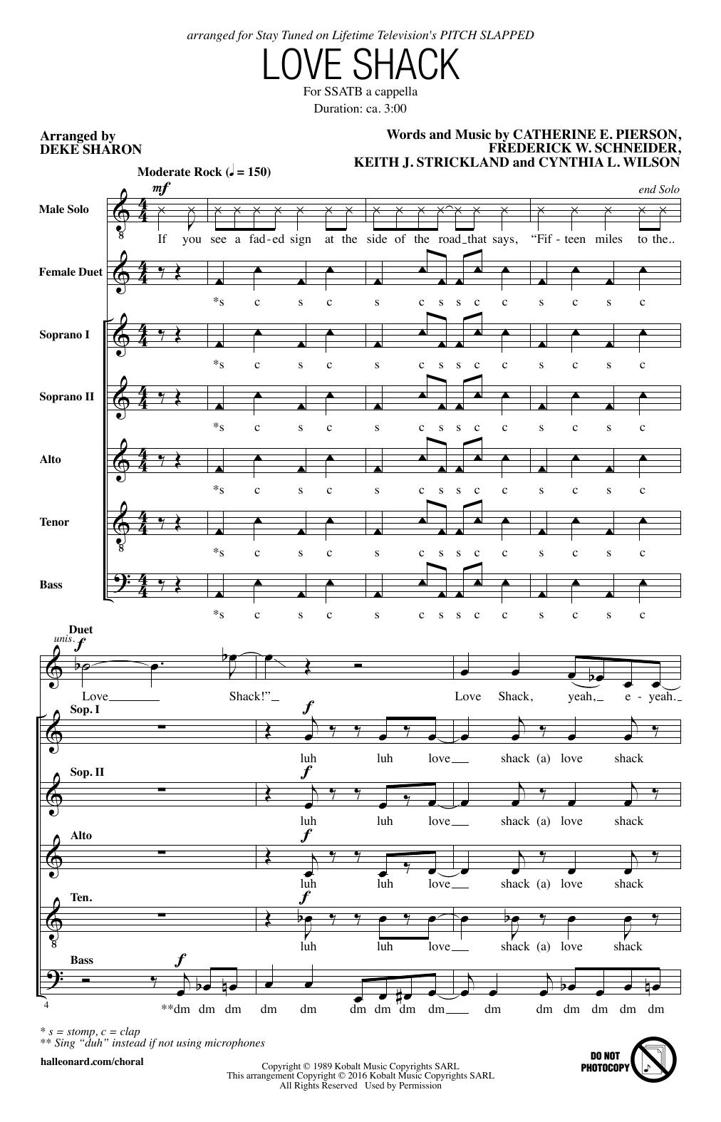 Partition chorale Love Shack (arr. Deke Sharon) de The B-52's - SSATB
