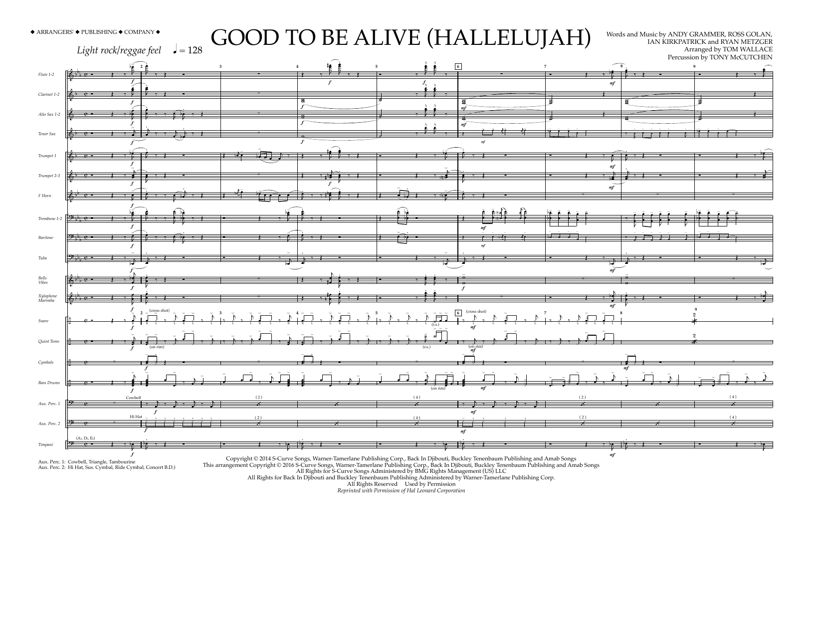 Andy Grammer - Good to Be Alive (Hallelujah) - Full Score