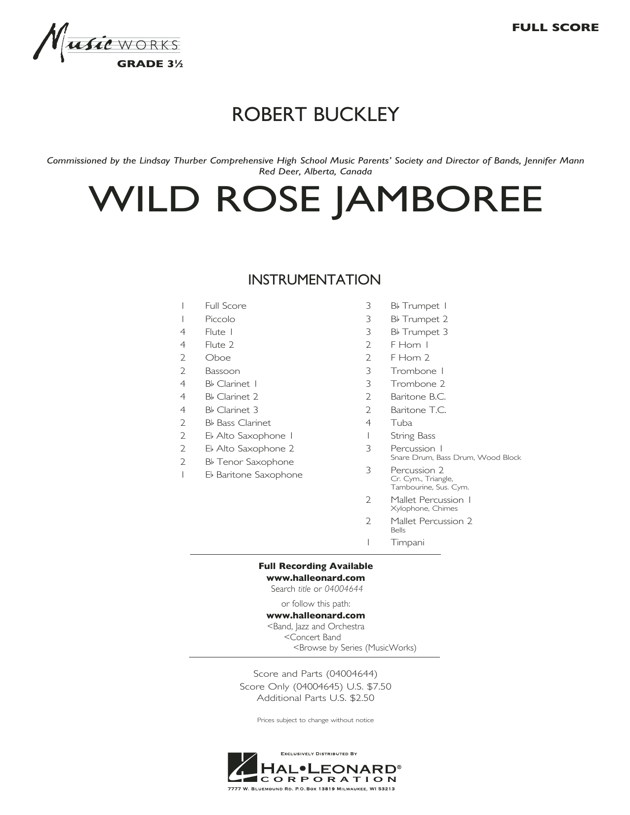 Wild Rose Jamboree - Conductor Score (Full Score)