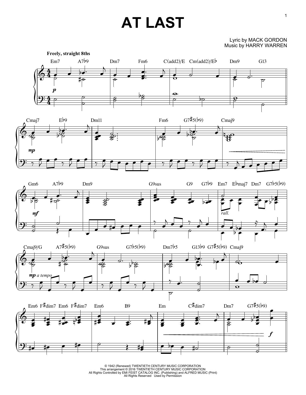 Partition piano At Last de Etta James - Piano Solo
