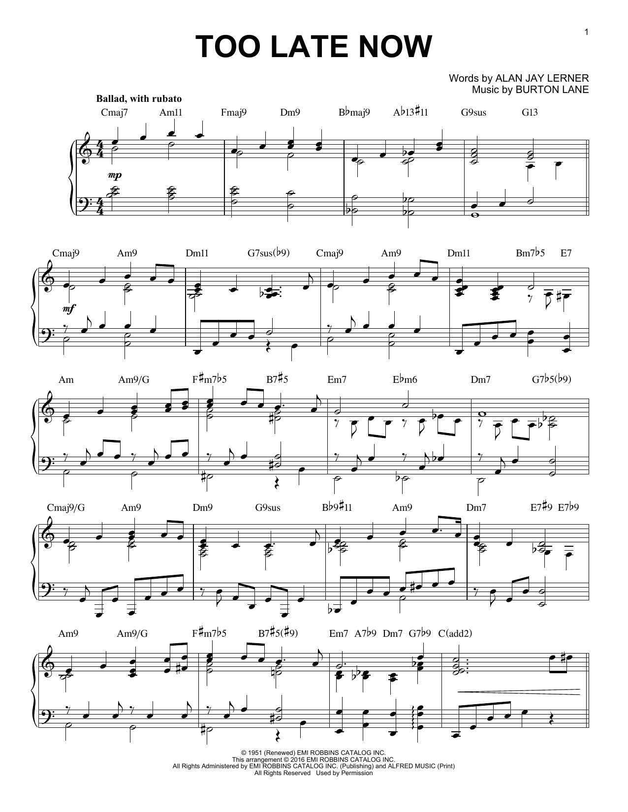 Partition piano Too Late Now de Alan Jay Lerner - Piano Solo