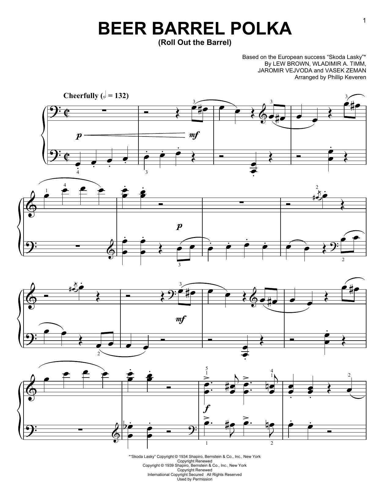 Partition piano Beer Barrel Polka (Roll Out The Barrel) de Phillip Keveren - Piano Facile