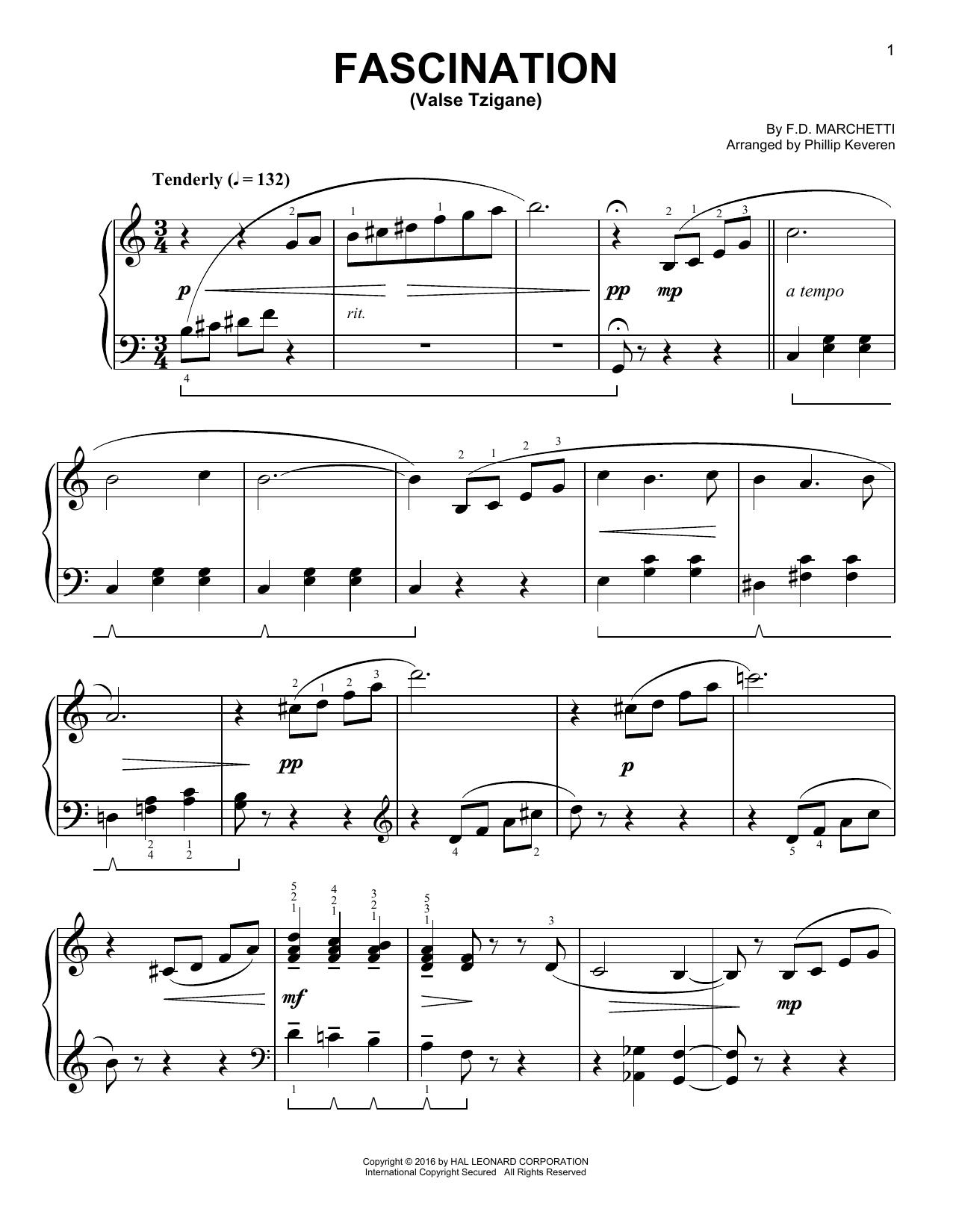 Partition piano Fascination (Valse Tzigane) de Phillip Keveren - Piano Facile