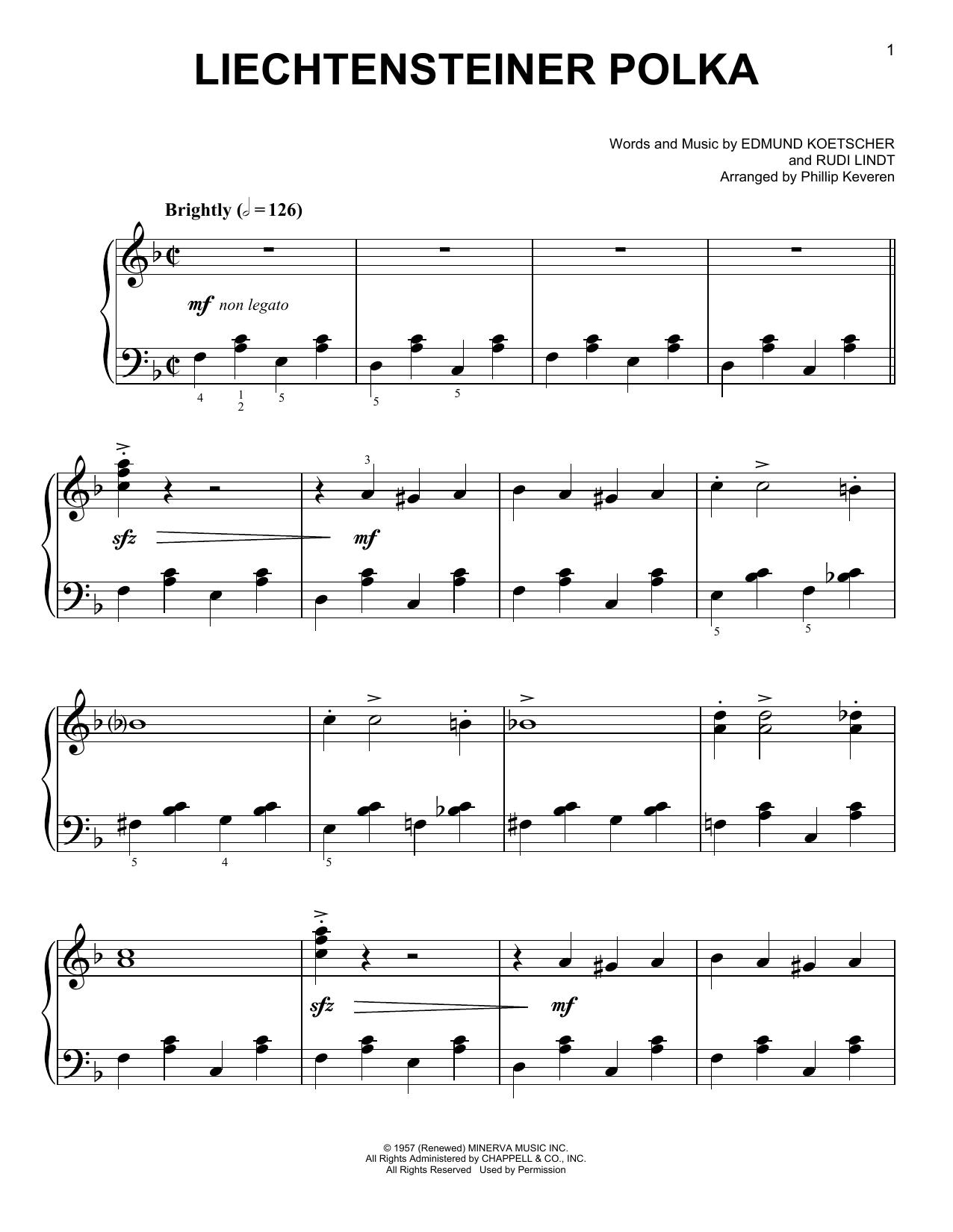 Partition piano Liechtensteiner Polka de Edmund Koetscher - Piano Facile