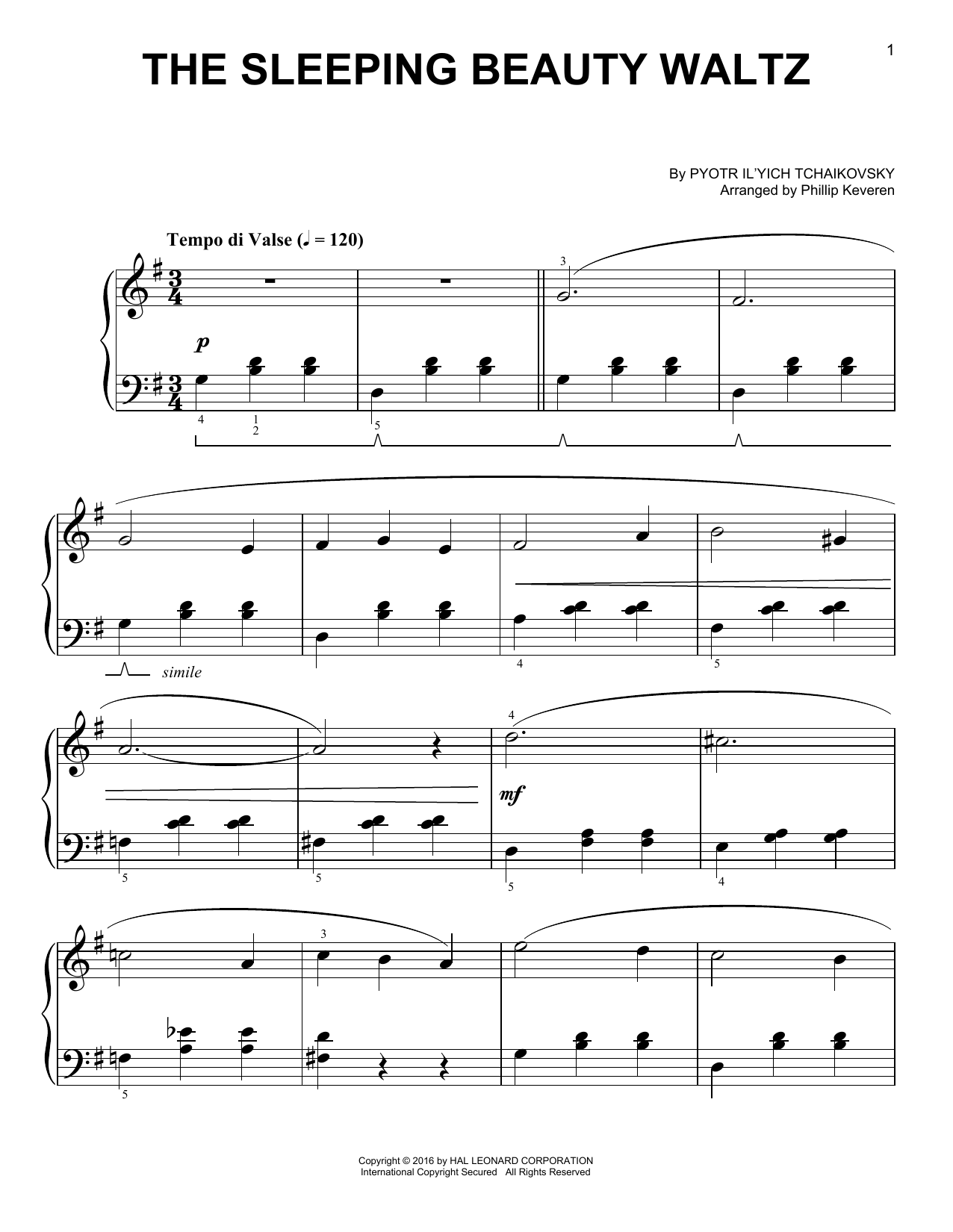 Partition piano The Sleeping Beauty Waltz de Phillip Keveren - Piano Facile
