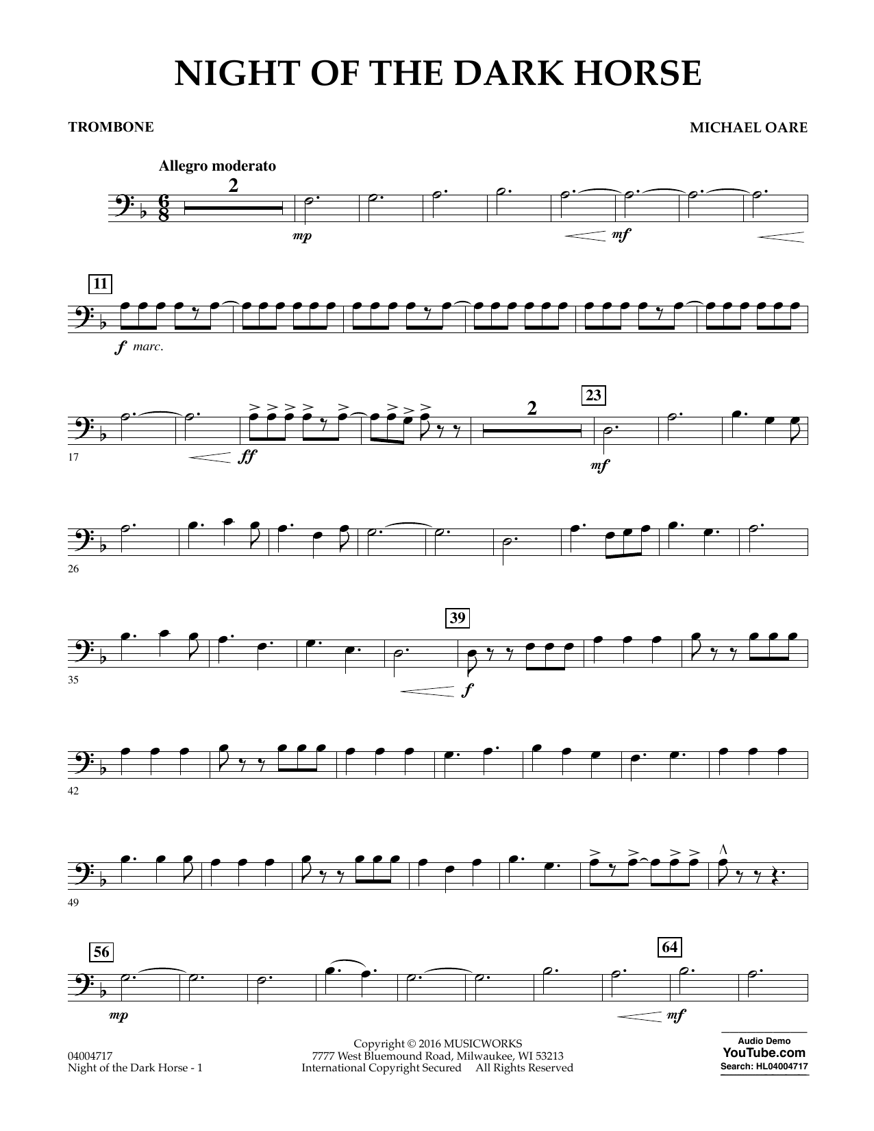 Night of the dark horse trombone sheet music at stantons format concert band hexwebz Image collections