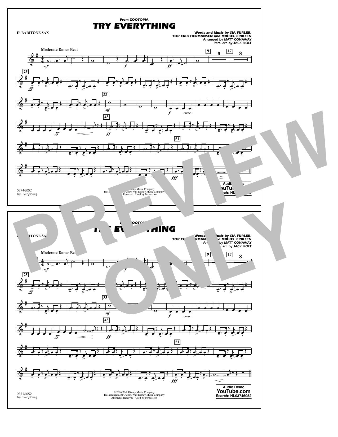 Shakira - Try Everything (from Zootopia) - Eb Baritone Sax