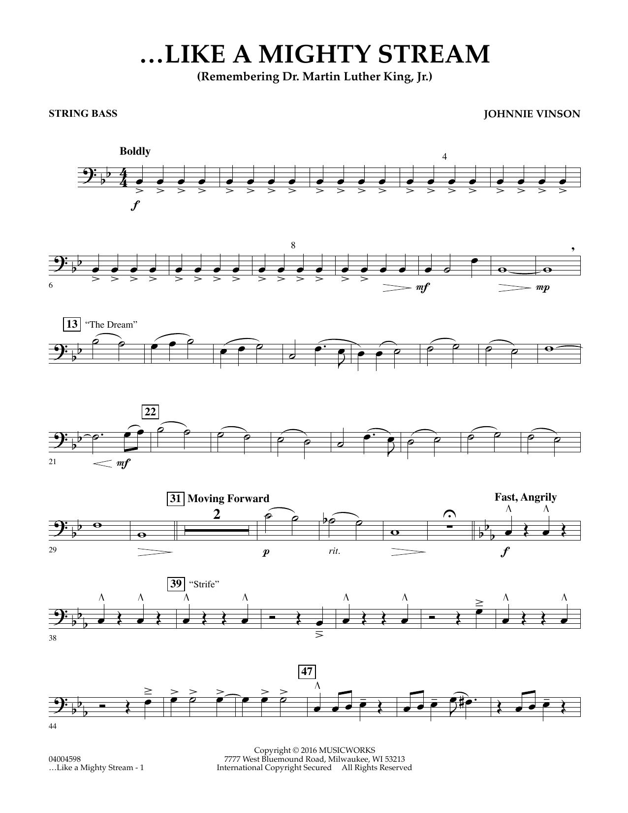 Like a Mighty Stream (for Concert Band and Narrator) - String Bass