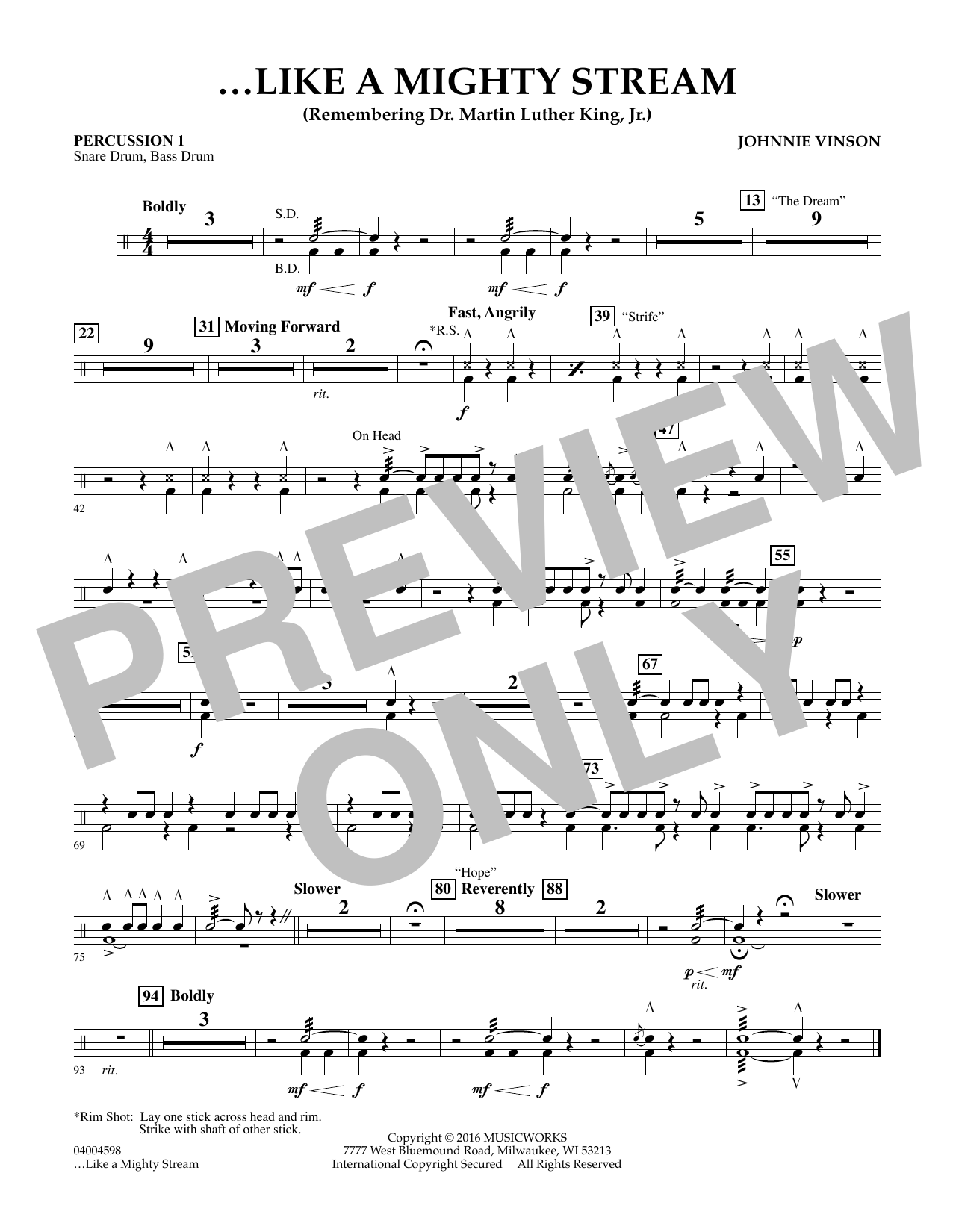 Like a Mighty Stream (for Concert Band and Narrator) - Percussion 1