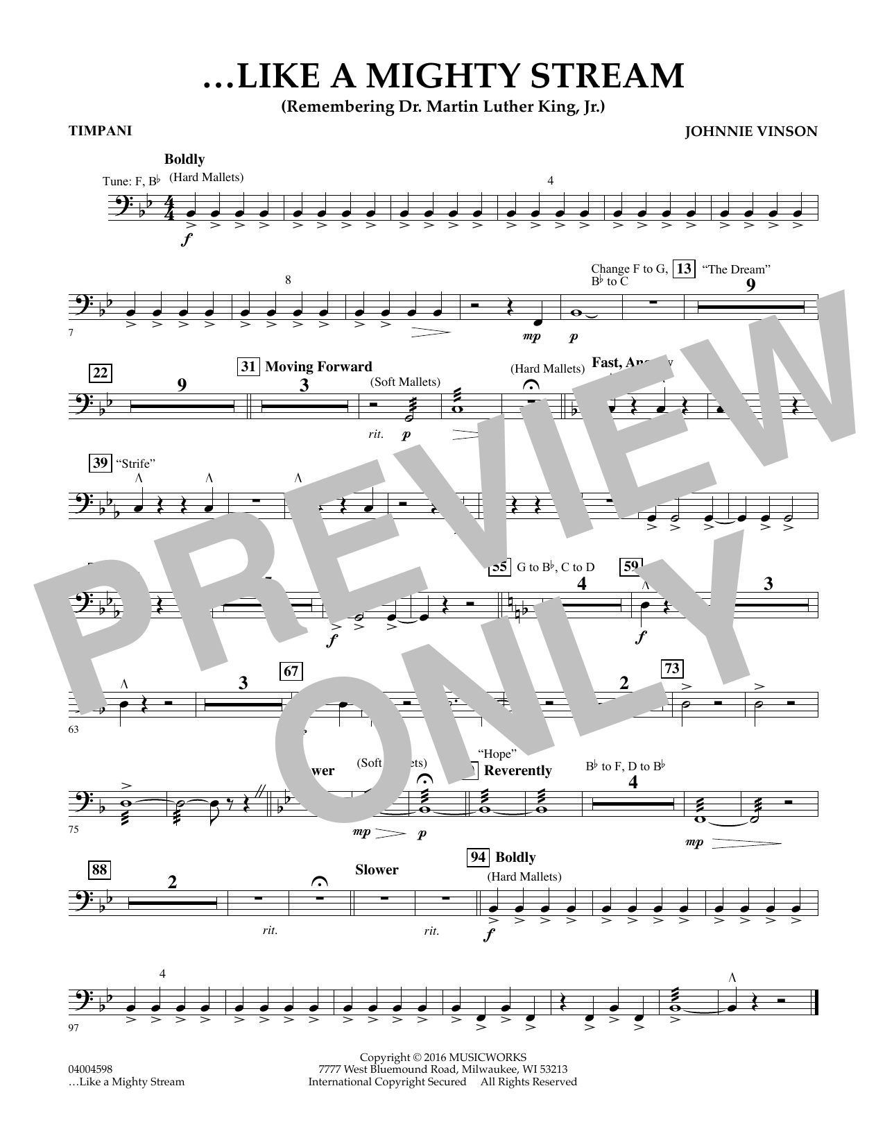 Like a Mighty Stream (for Concert Band and Narrator) - Timpani