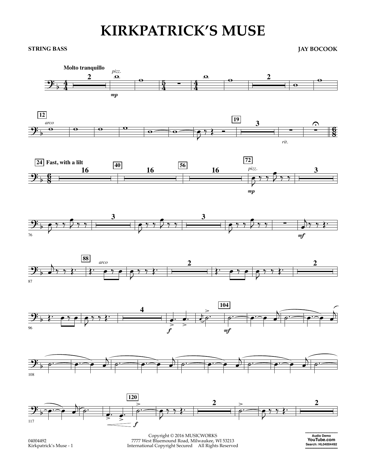 Kirkpatricks muse string bass sheet music at stantons sheet format concert band hexwebz Image collections