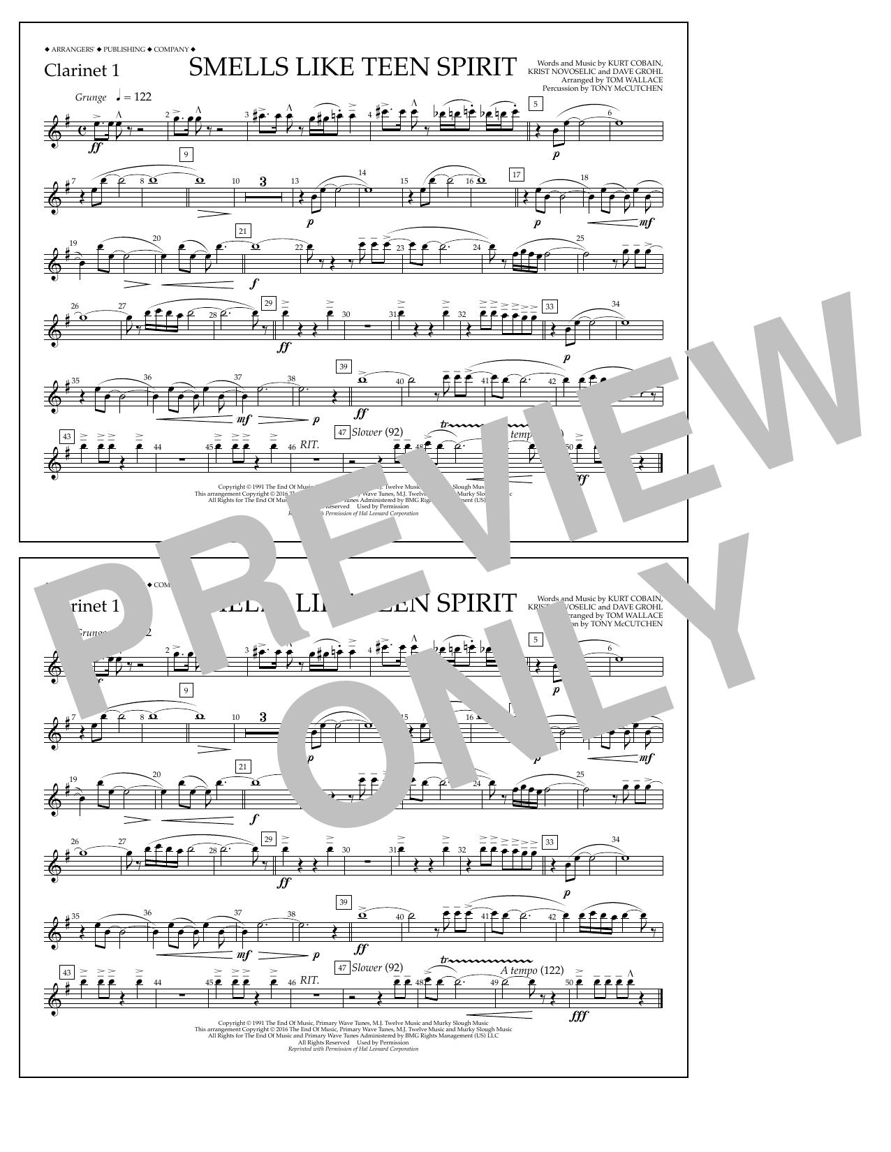 Nirvana - Smells Like Teen Spirit - Clarinet 1