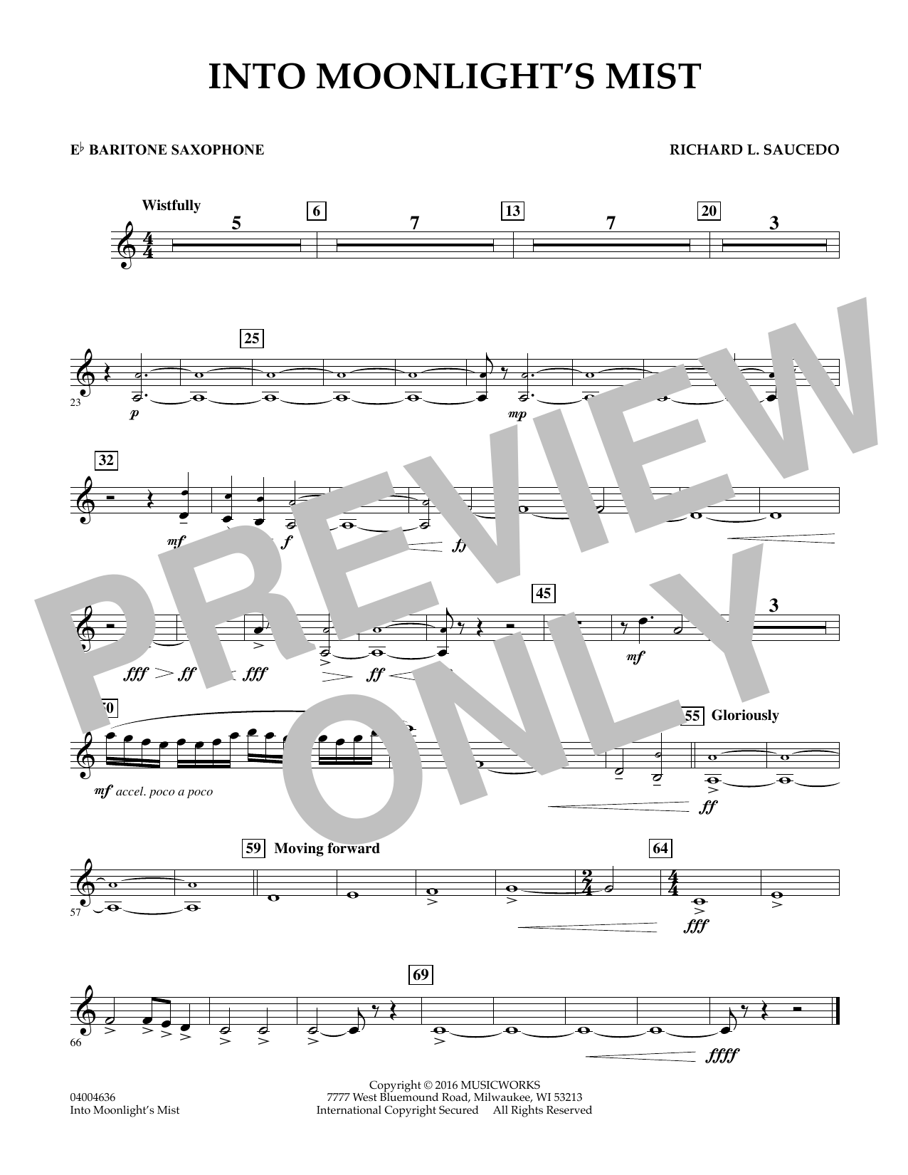 Into Moonlight's Mist - Eb Baritone Saxophone