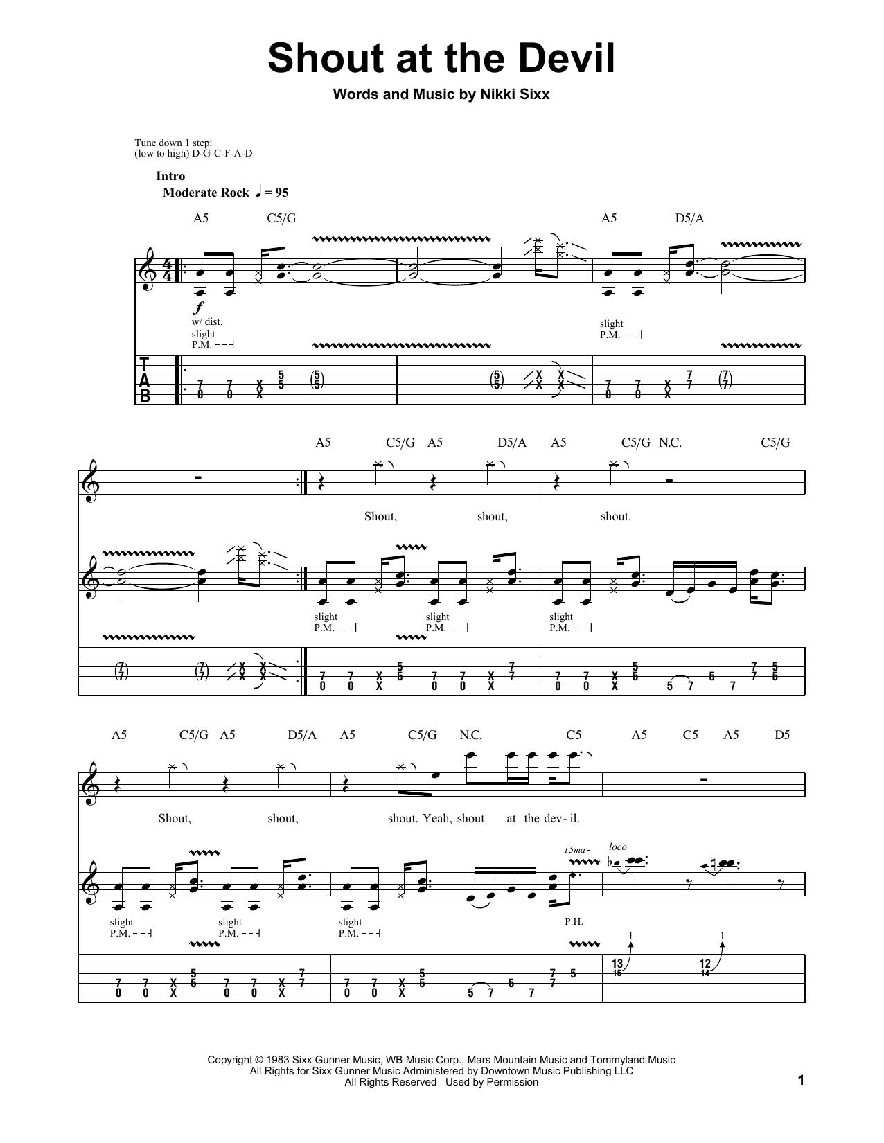 Tablature guitare Shout At The Devil de Motley Crue - Tablature Guitare