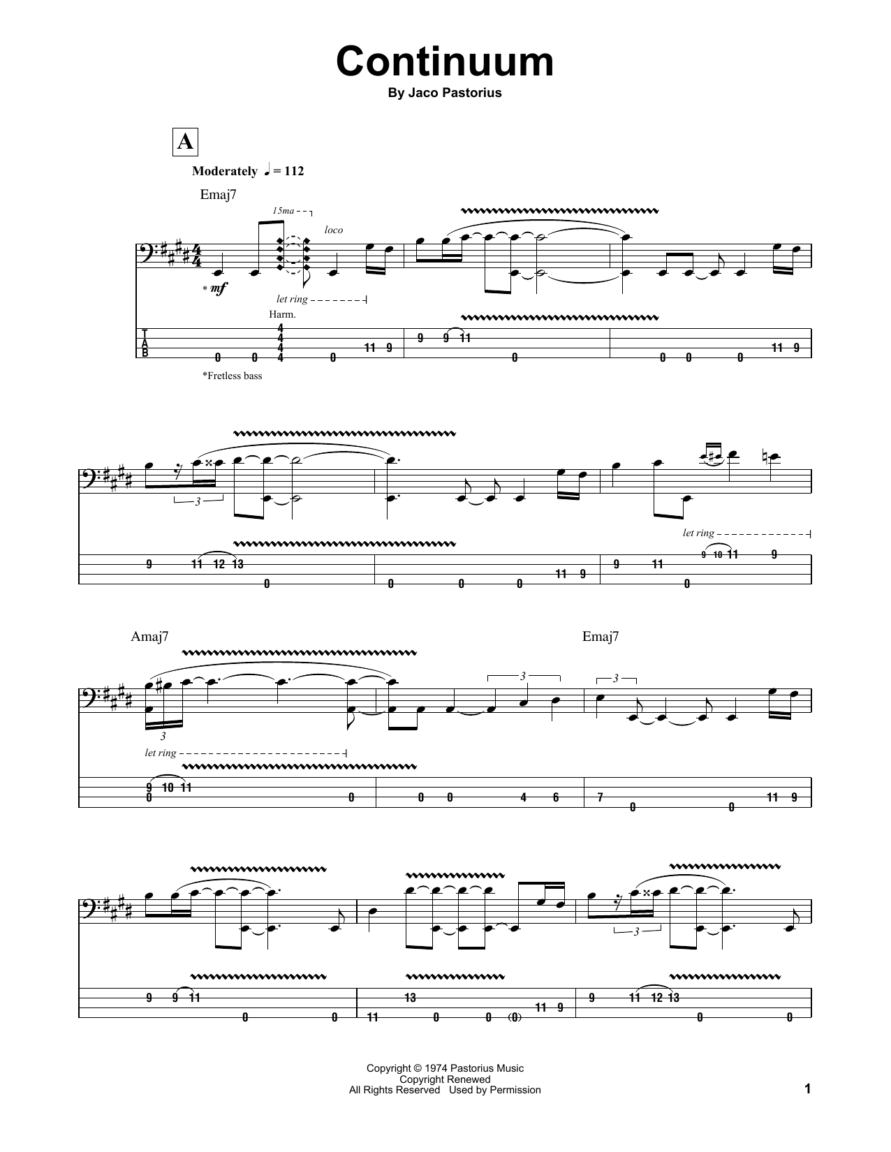 Tablature guitare Continuum de Jaco Pastorius - Tablature Basse